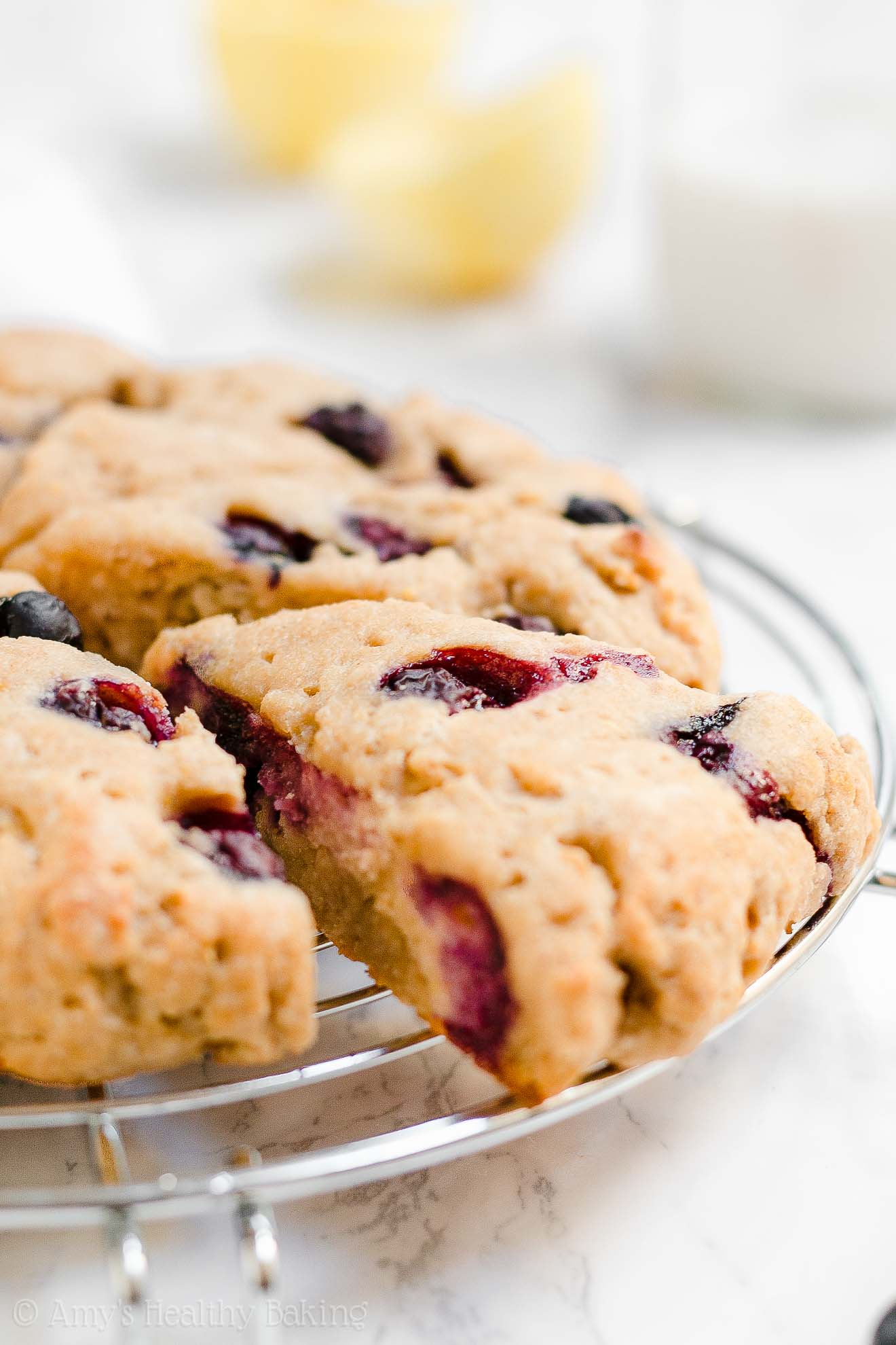 Moist Healthy Low Calorie Lemon Blueberry Scones