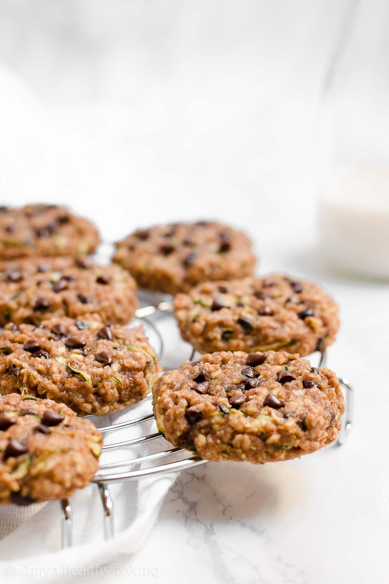 Clean Eating Healthy Chocolate Chip Zucchini Oatmeal Breakfast Cookies