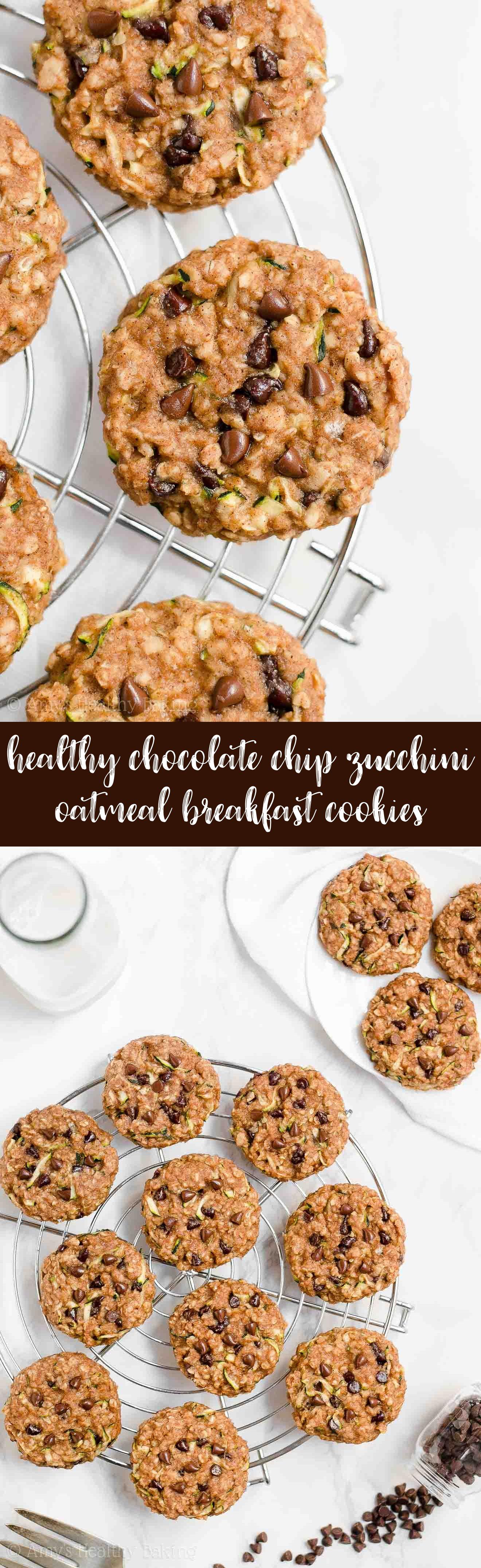 Best Healthy Chocolate Chip Zucchini Oatmeal Breakfast Cookies