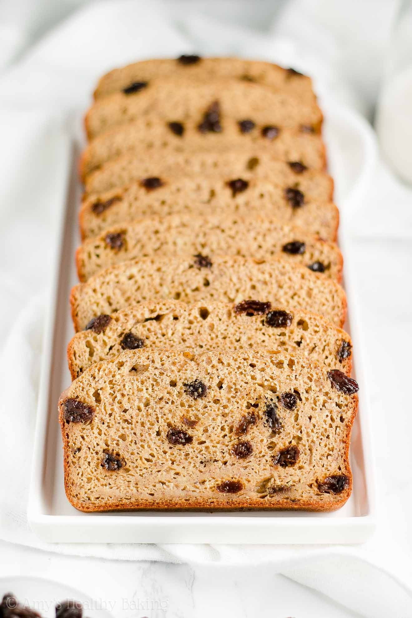 Healthy Cinnamon Raisin Banana Bread made with Greek yogurt