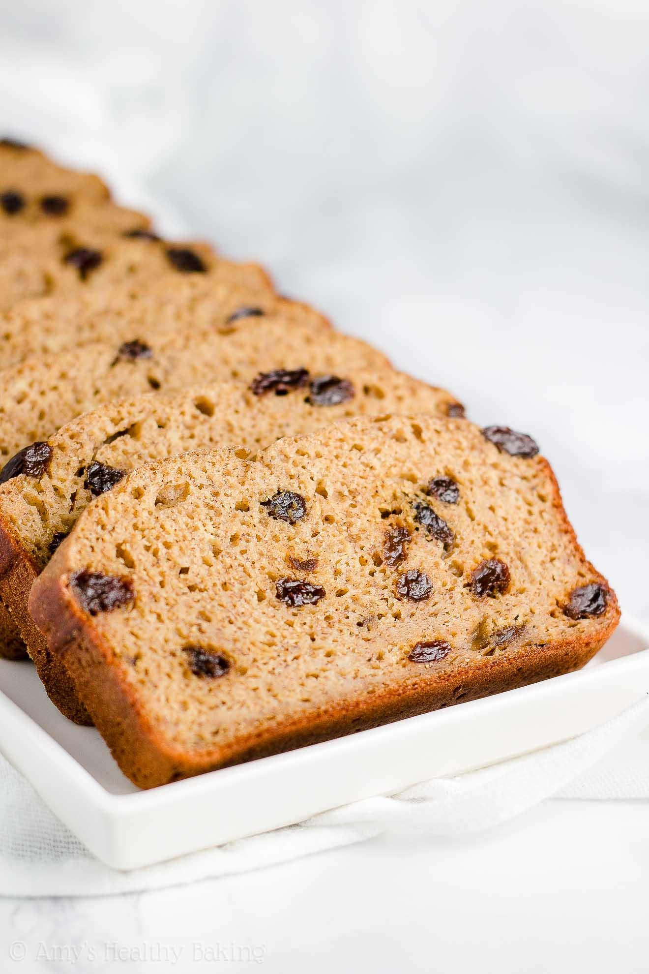 Moist Healthy Clean Eating Cinnamon Raisin Banana Bread
