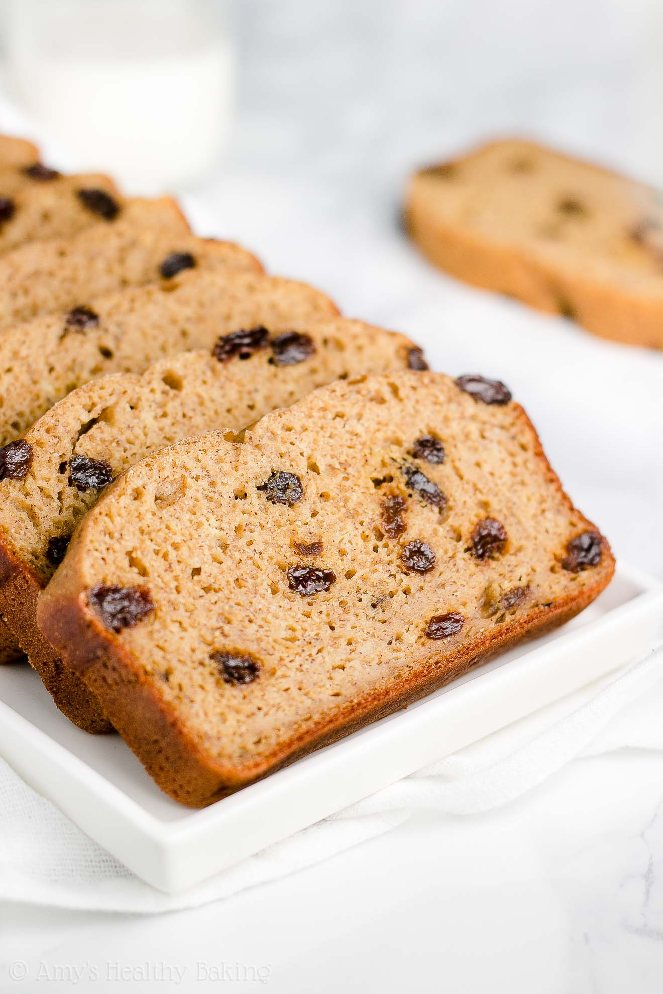 Healthy Cinnamon Raisin Banana Bread with Weight Watchers points