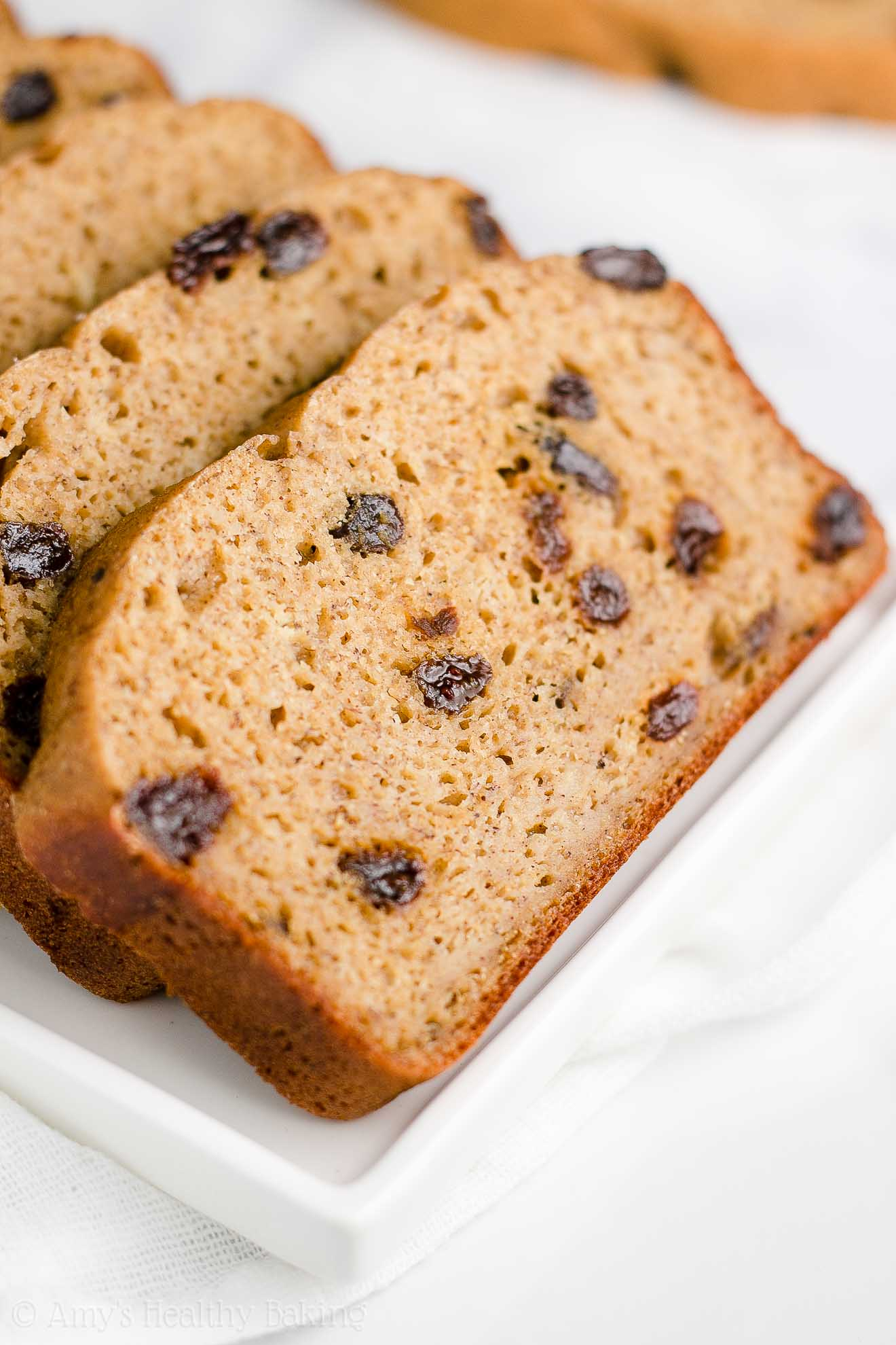 Healthy Clean Eating Gluten Free Cinnamon Raisin Banana Bread