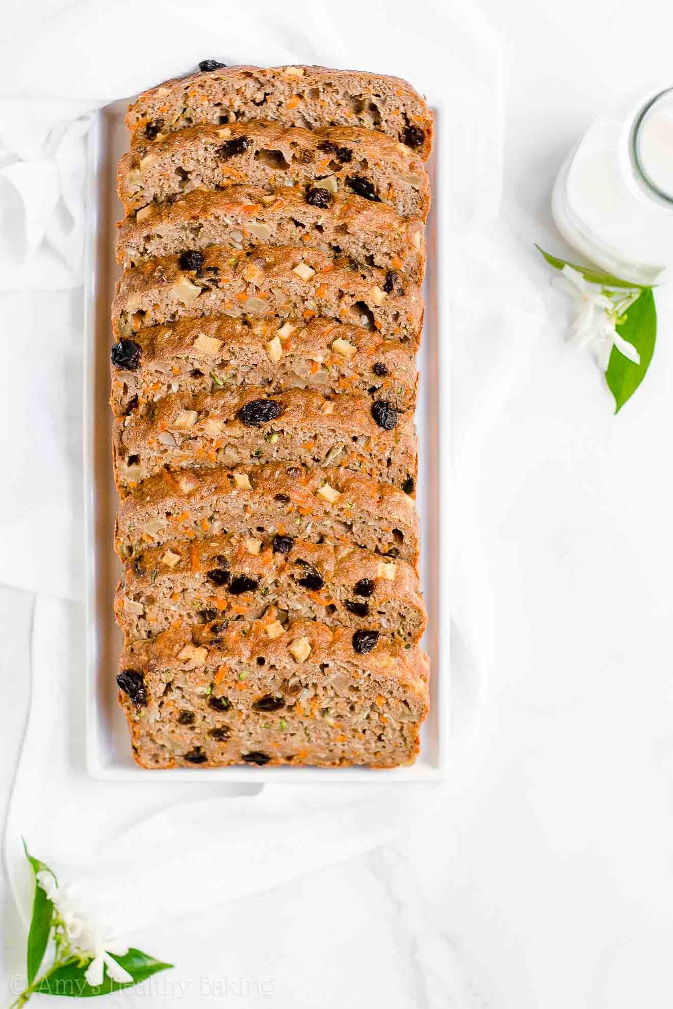 Healthy Gluten Free Morning Glory Zucchini Bread with no sugar