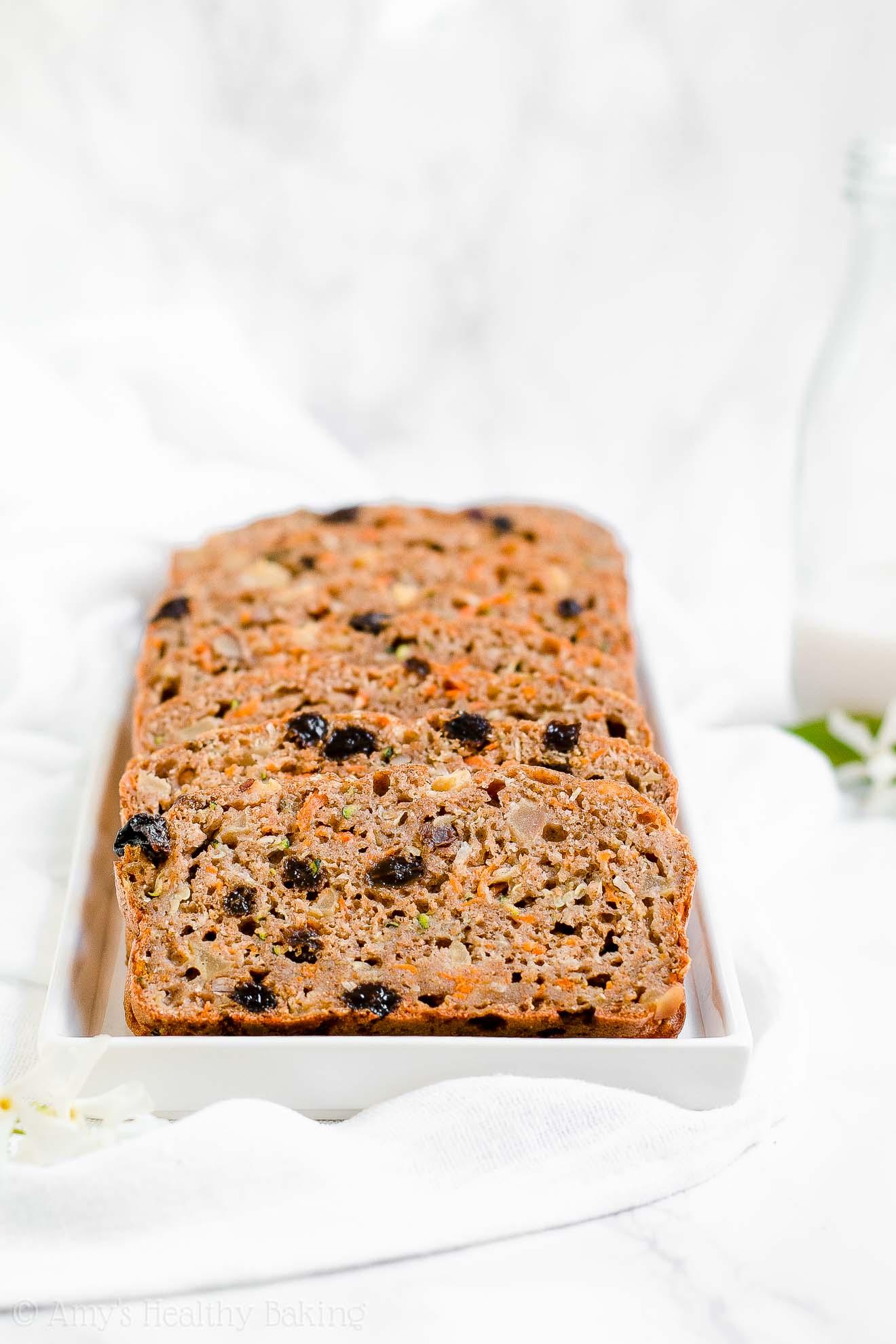 Moist Healthy Morning Glory Zucchini Bread with no sugar
