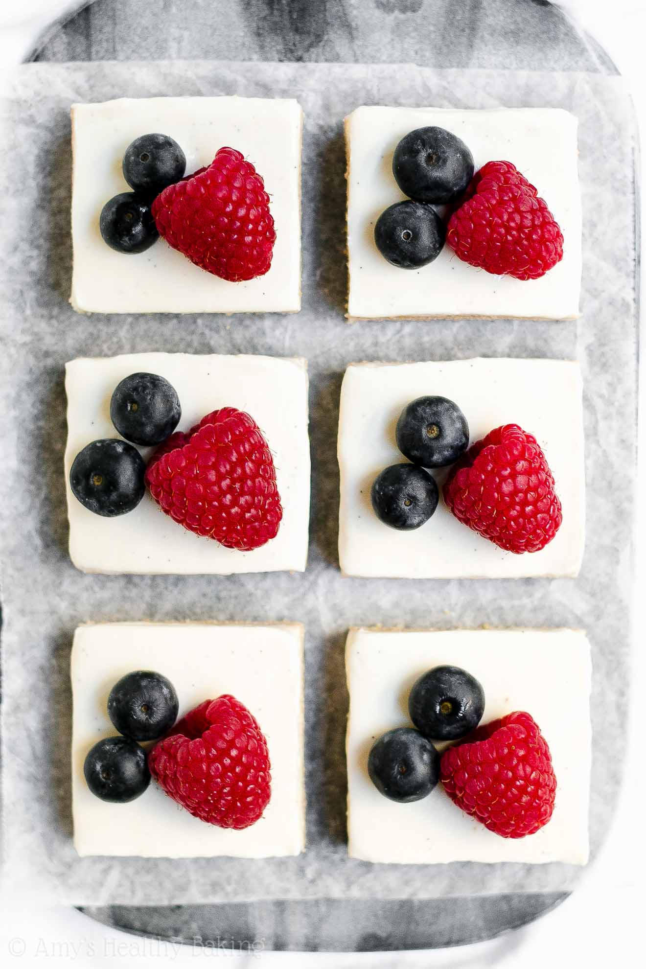 Healthy Frosted Sugar Cookie Bars for 4th of July Desserts