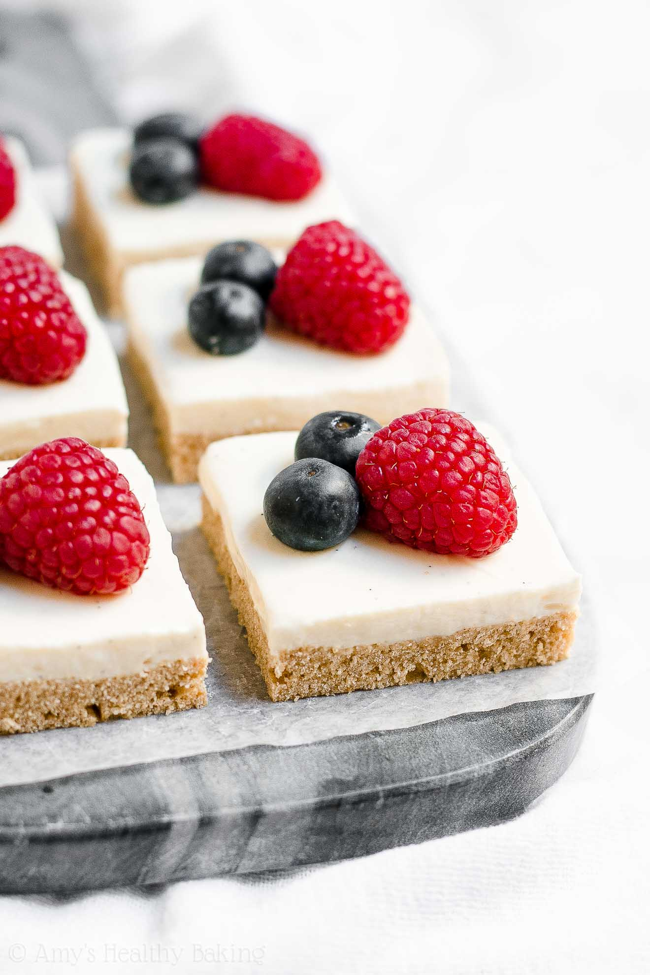Low Fat Sugar Cookie Bars with Greek yogurt vanilla bean frosting