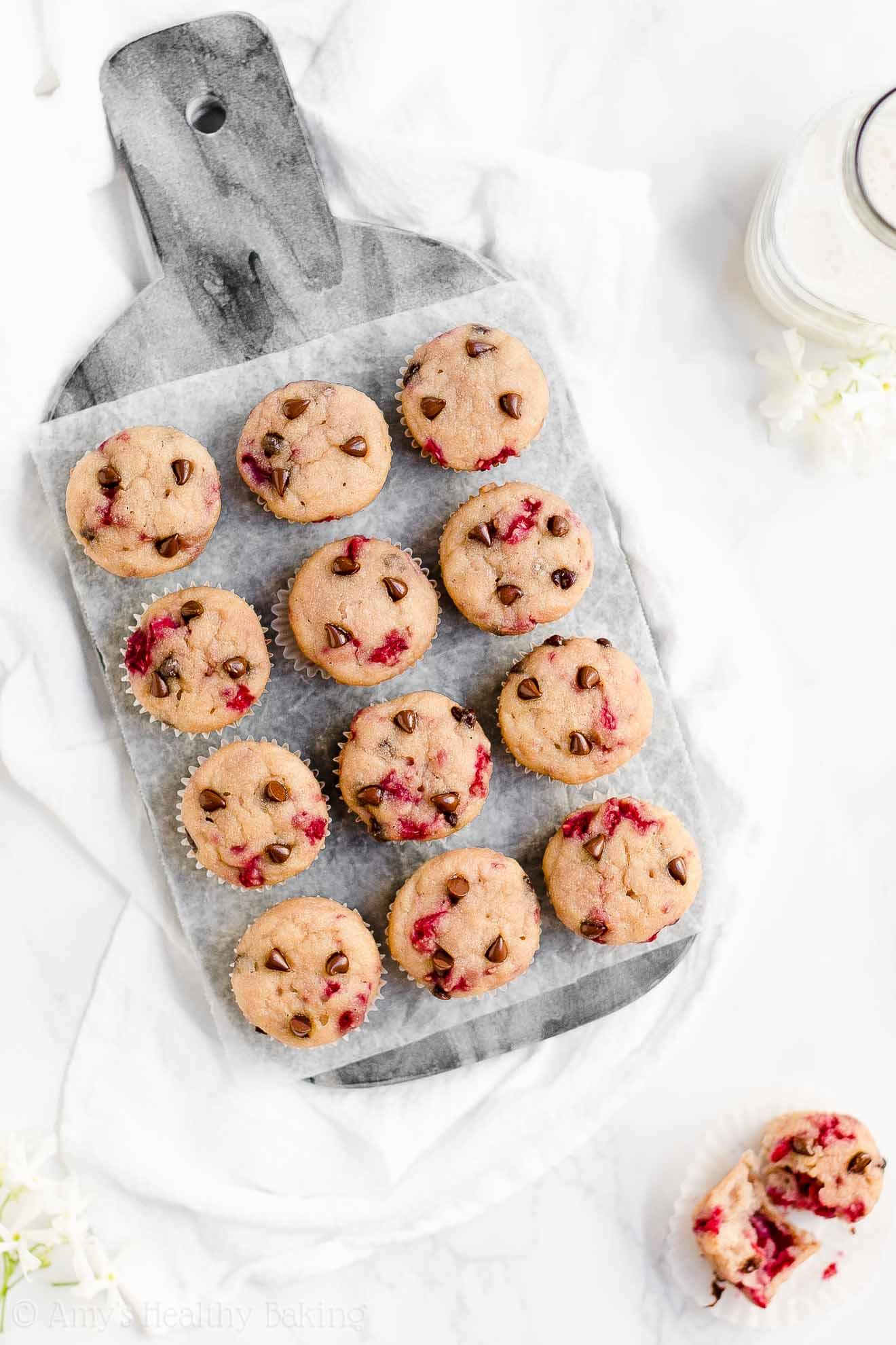 Moist Healthy Greek Yogurt Raspberry Chocolate Chip Mini Muffins