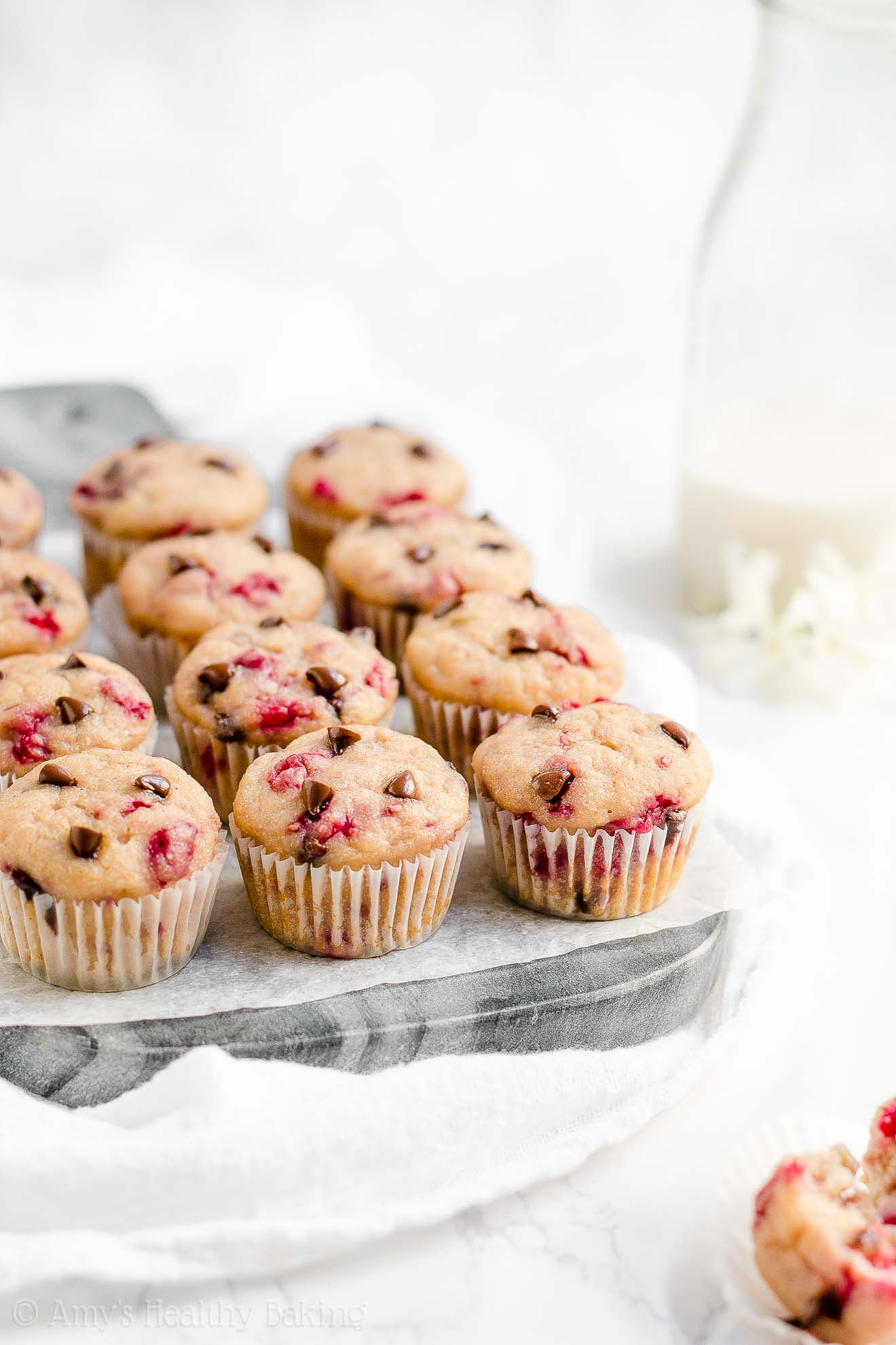 Healthy Clean Eating Raspberry Chocolate Chip Mini Muffins