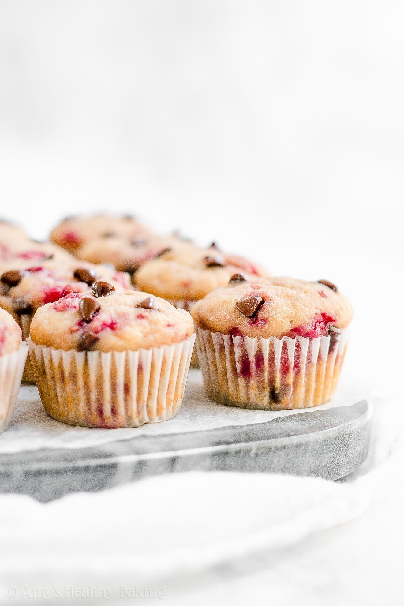 Healthy Gluten Free Sugar Free Raspberry Chocolate Chip Muffins