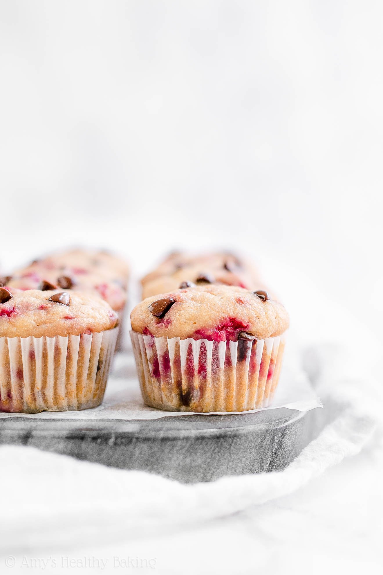 Healthy Low Calorie Raspberry Chocolate Chip Mini Muffins