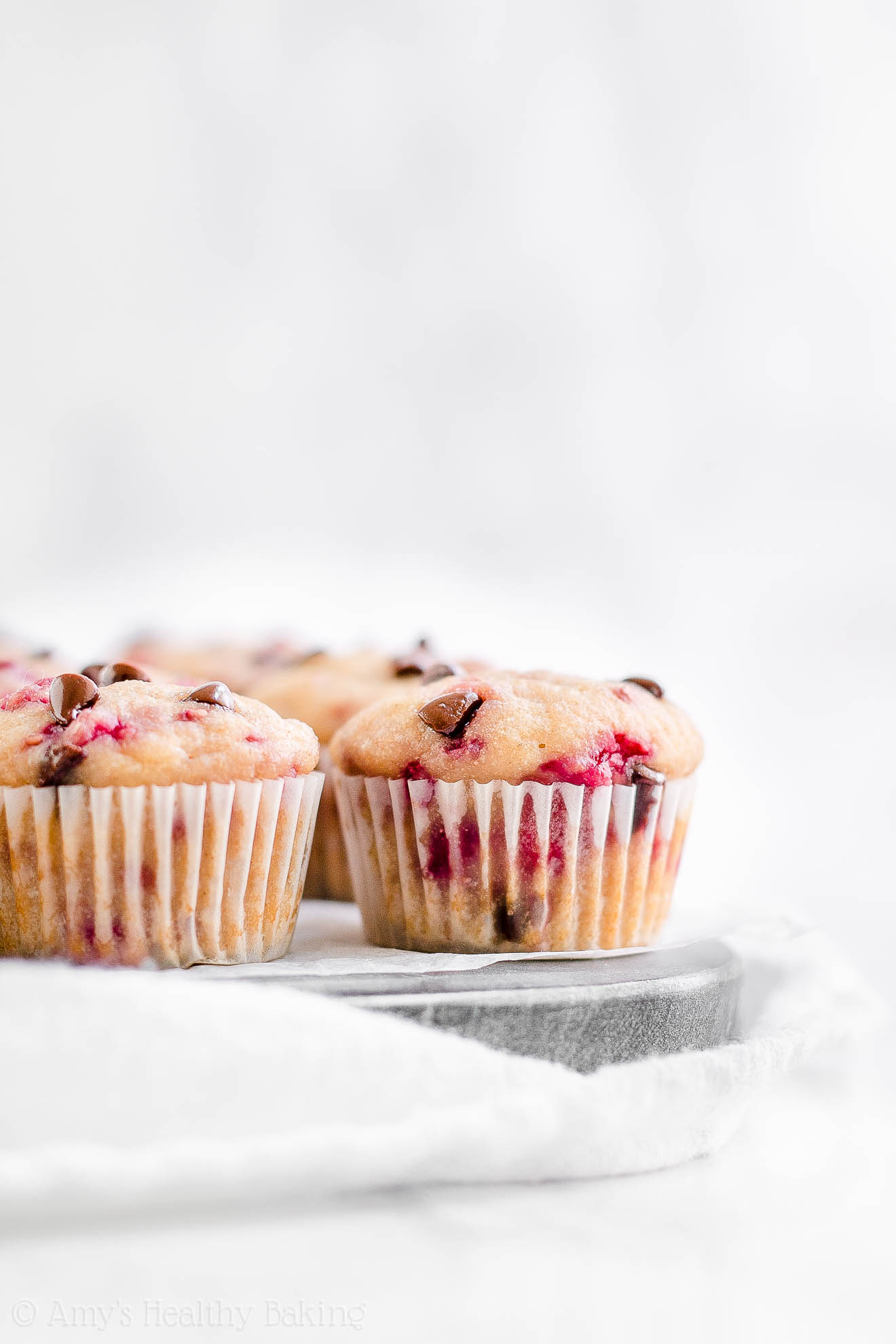 Healthy Raspberry Chocolate Chip Muffins with Weight Watchers Points