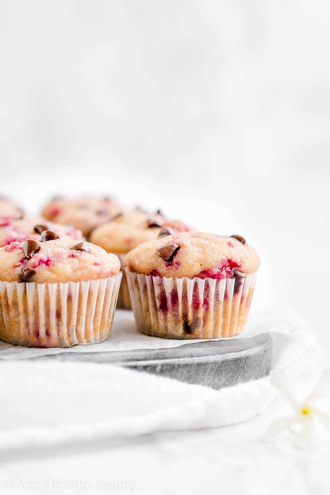 Healthy Low Calorie Sugar Free Raspberry Chocolate Chip Mini Muffins