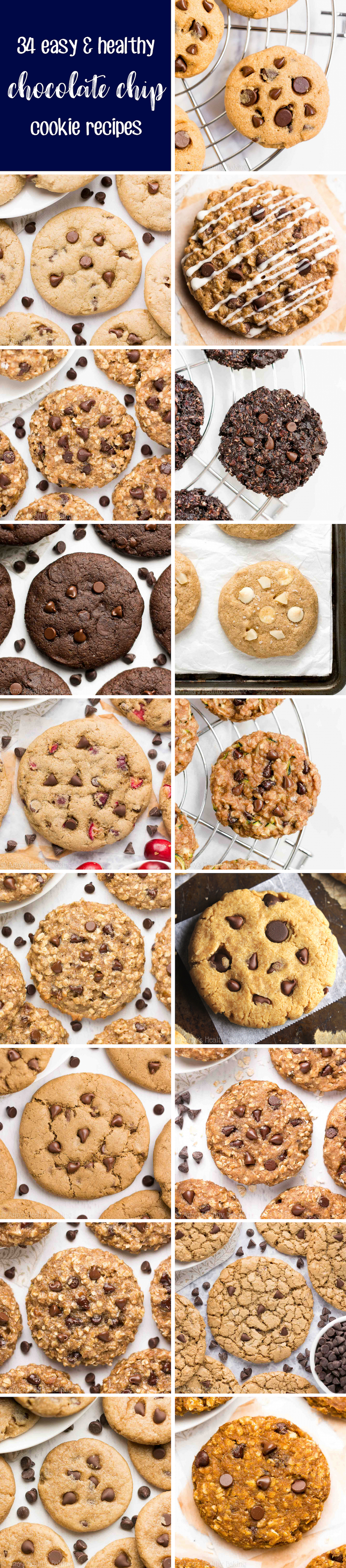 34 Easy & Healthy Chocolate Chip Cookie Recipes (Skinny & Weight Watchers Points)