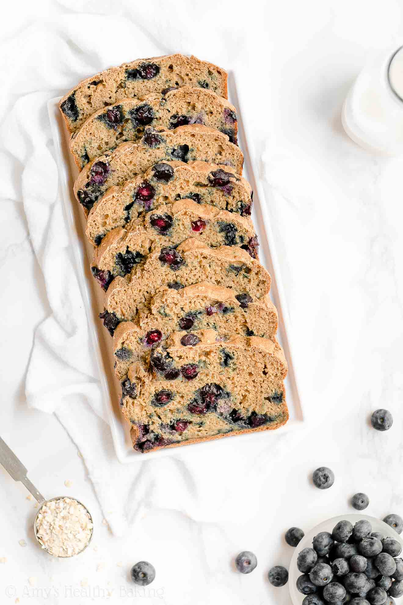 Healthy Blueberry Oatmeal Breakfast Quick Bread with Weight Watchers Points