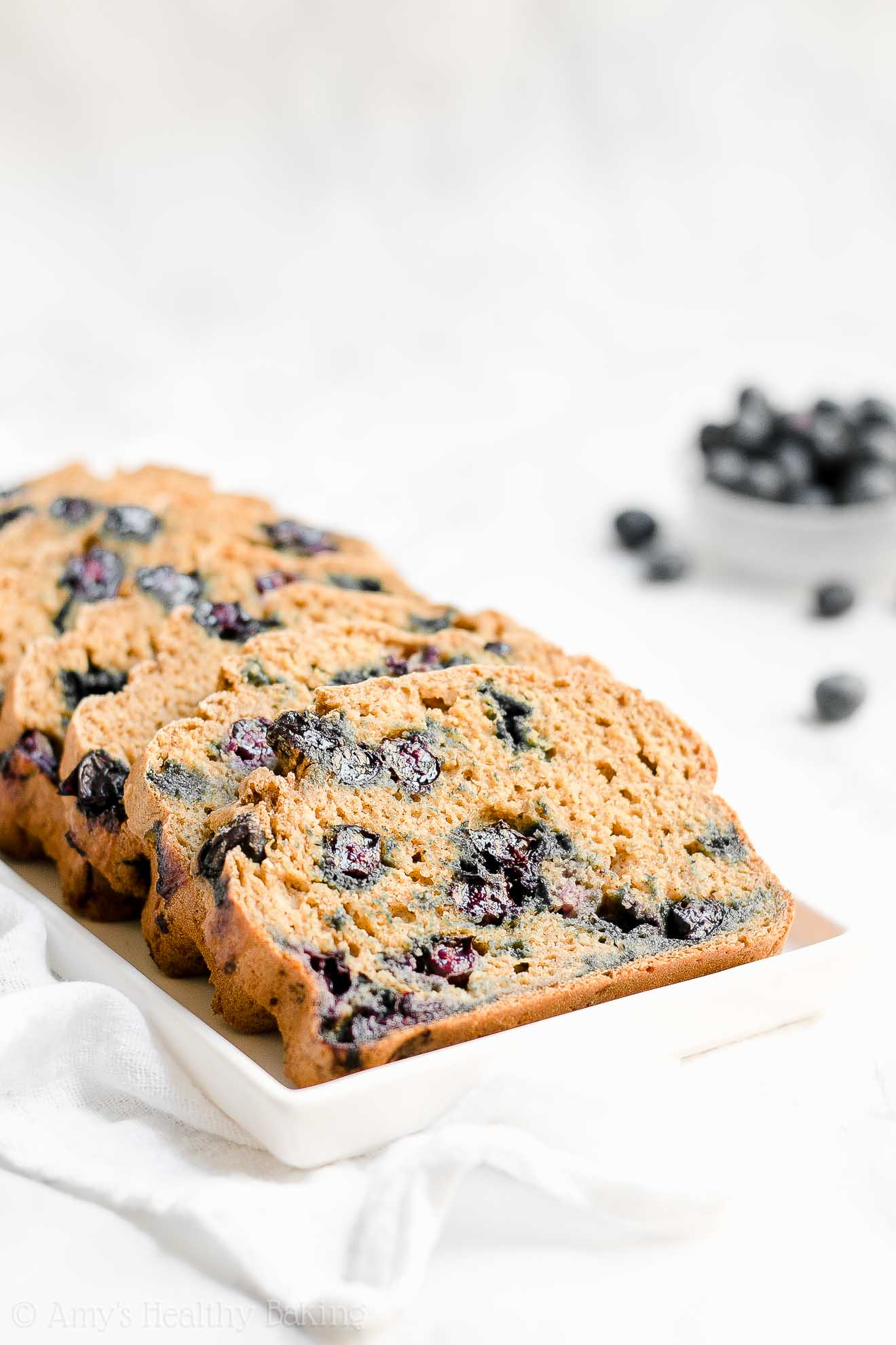 Healthy Low Sugar Blueberry Oatmeal Breakfast Quick Bread