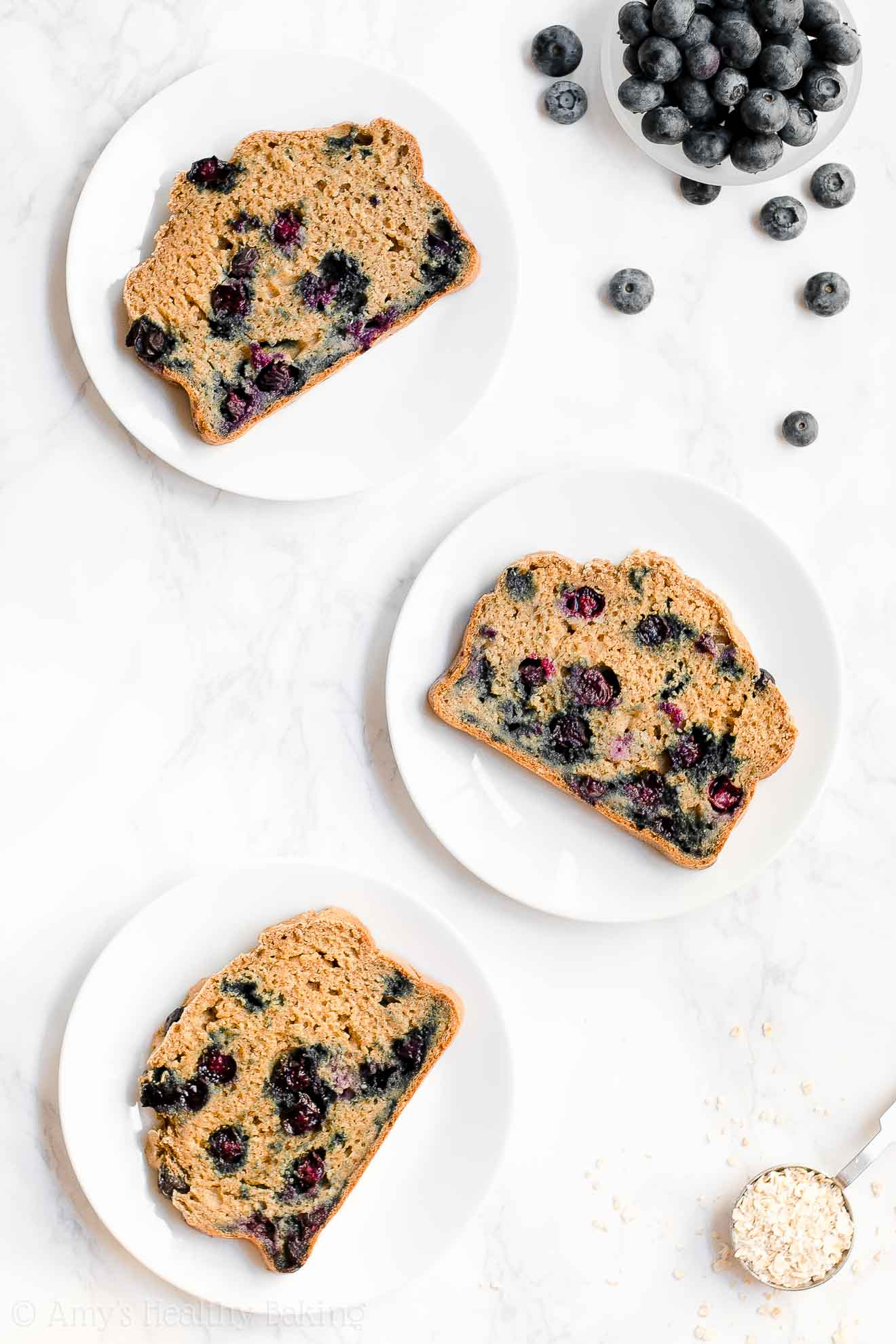 Healthy Greek Yogurt Blueberry Oatmeal Breakfast Quick Bread