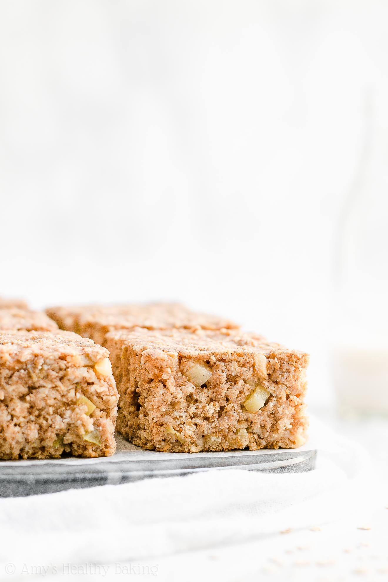Healthy Low Fat Whole Wheat Cinnamon Apple Oatmeal Snack Cake