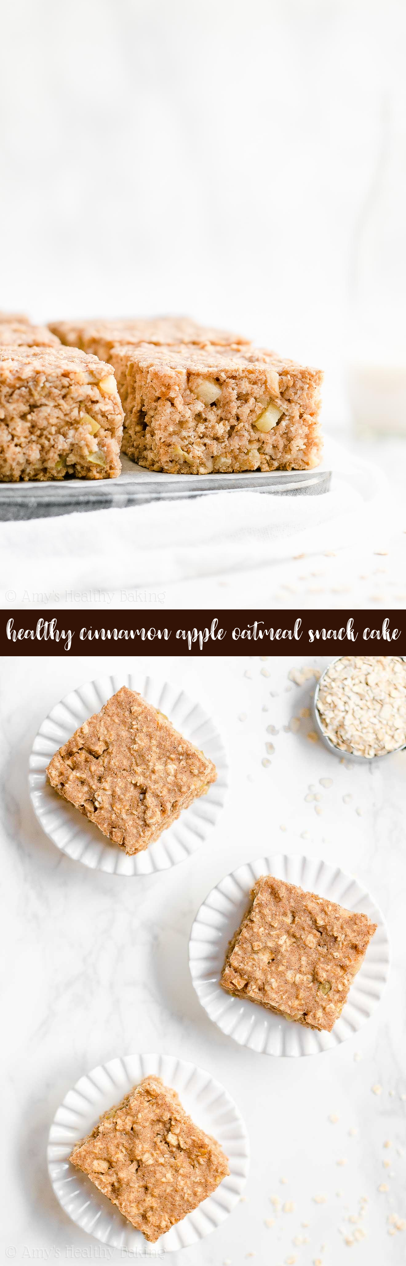 Best Ever Healthy Cinnamon Apple Oatmeal Snack Cake Recipe