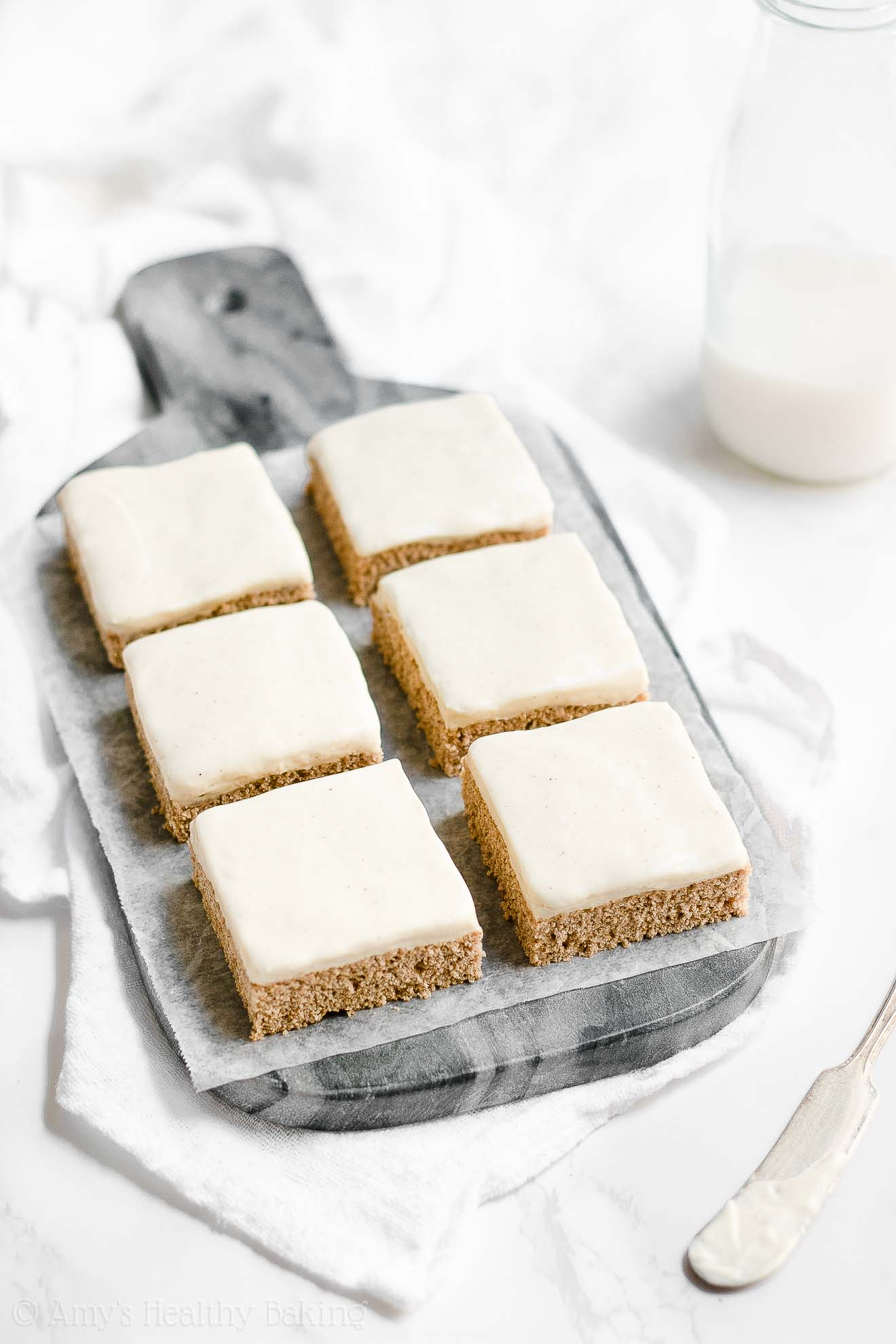 Healthy Cinnamon Roll Cookie Bars with Sugar Free Cream Cheese Frosting