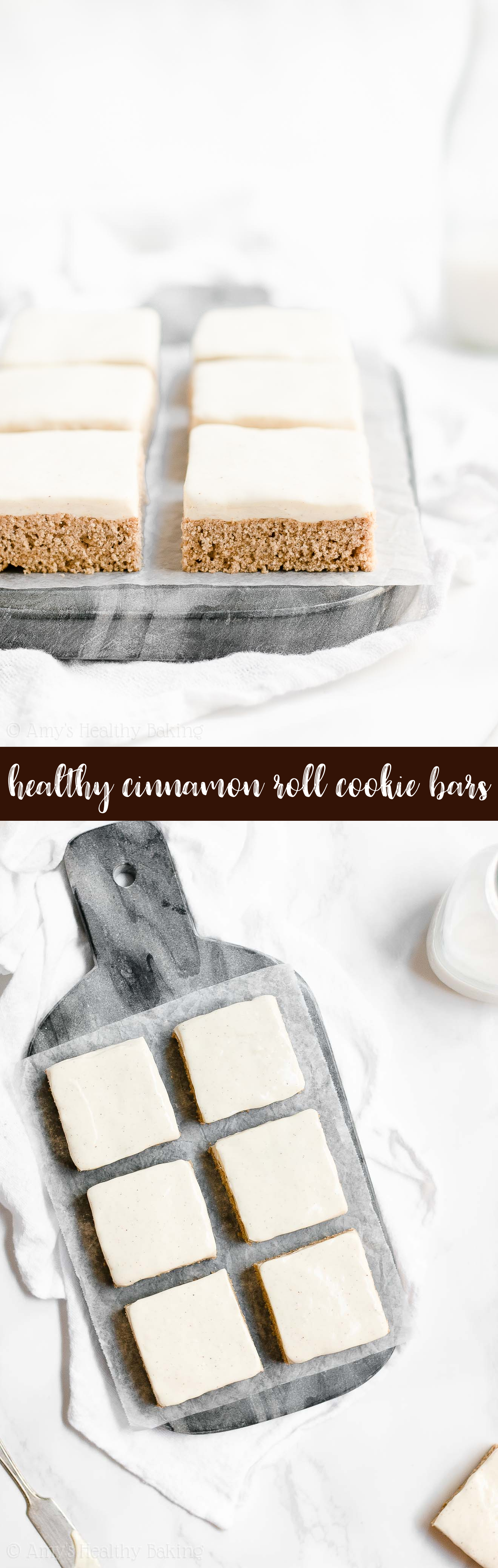 Best Ever Healthy Cinnamon Roll Blondie Cookie Bars