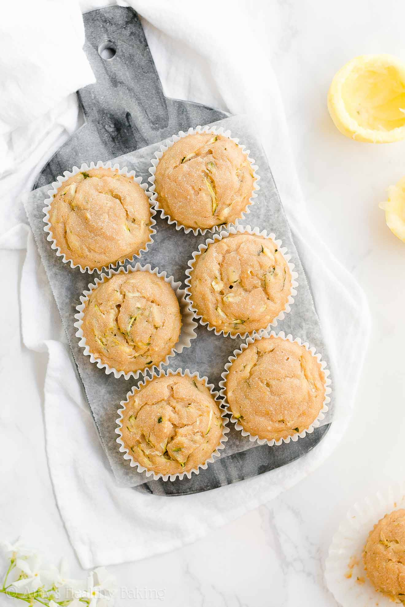 Moist Healthy Greek Yogurt Lemon Zucchini Muffins