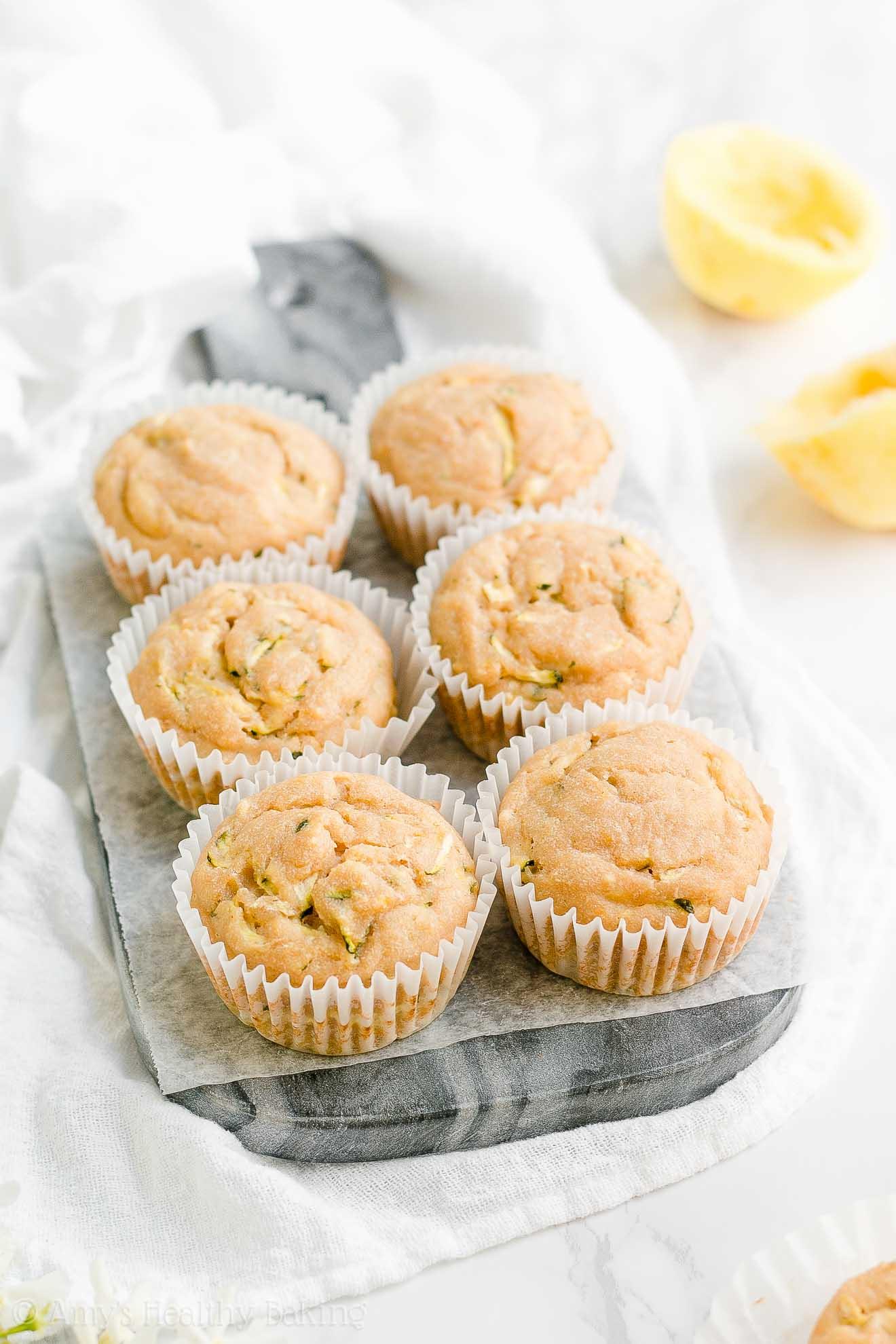 Healthy Clean Eating Greek Yogurt Lemon Zucchini Muffins