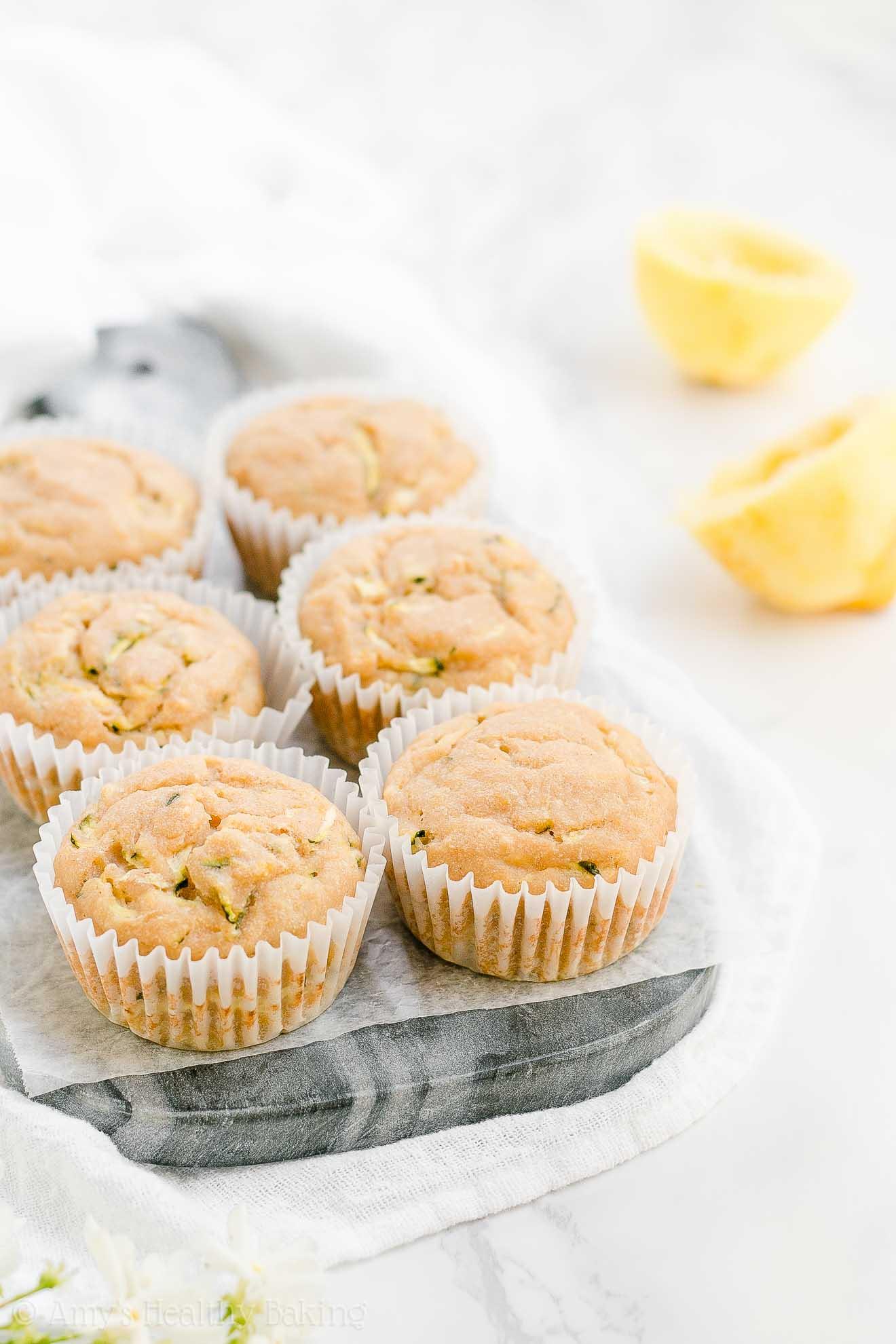 Healthy Whole Wheat Sugar Free Lemon Zucchini Muffins