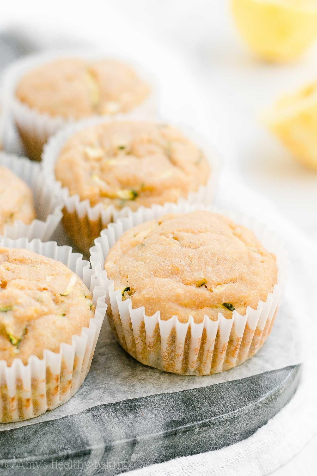 Healthy Gluten Free Sugar Free Lemon Zucchini Muffins