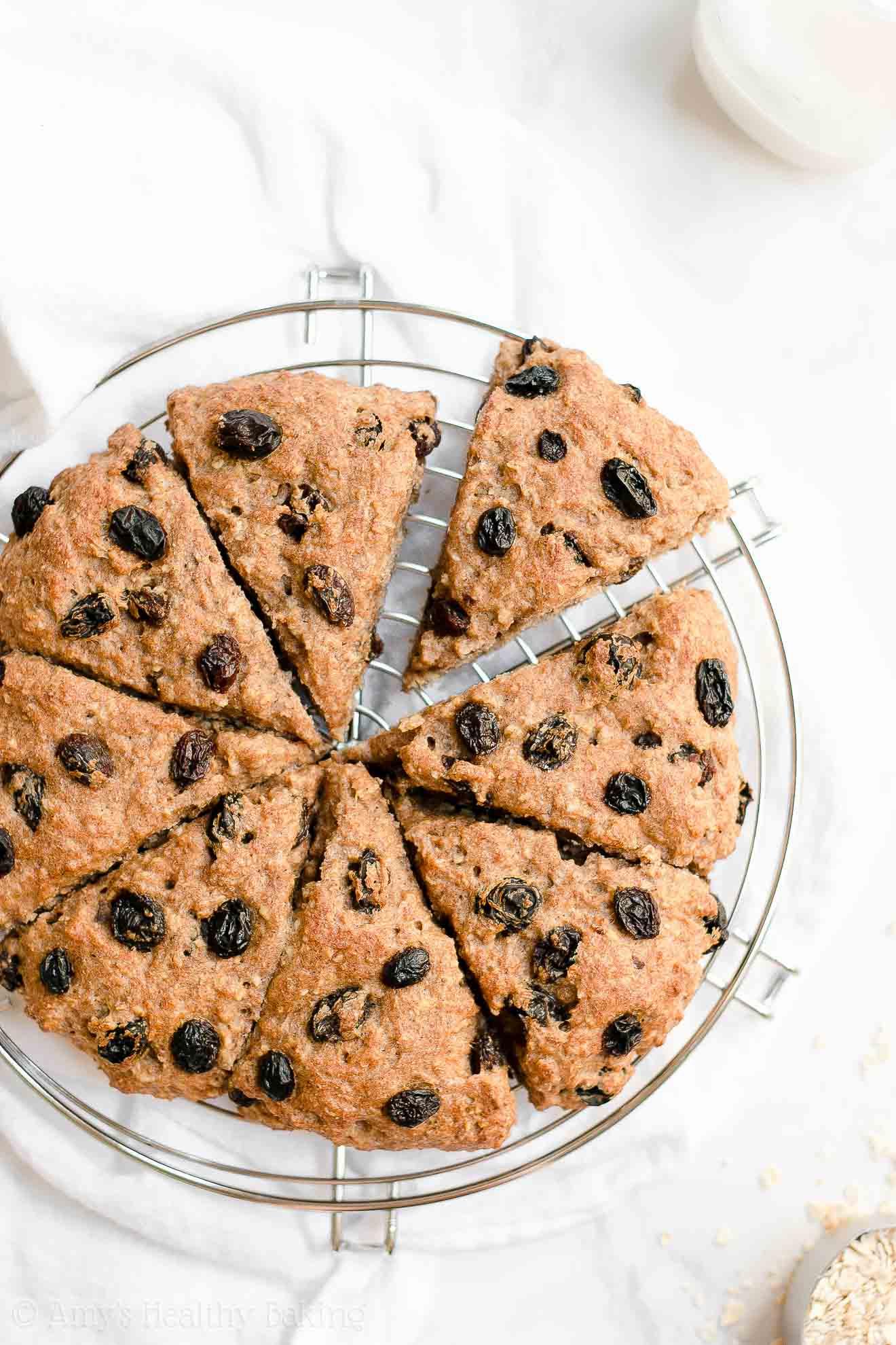 Healthy Low Fat Whole Wheat Oatmeal Raisin Scones