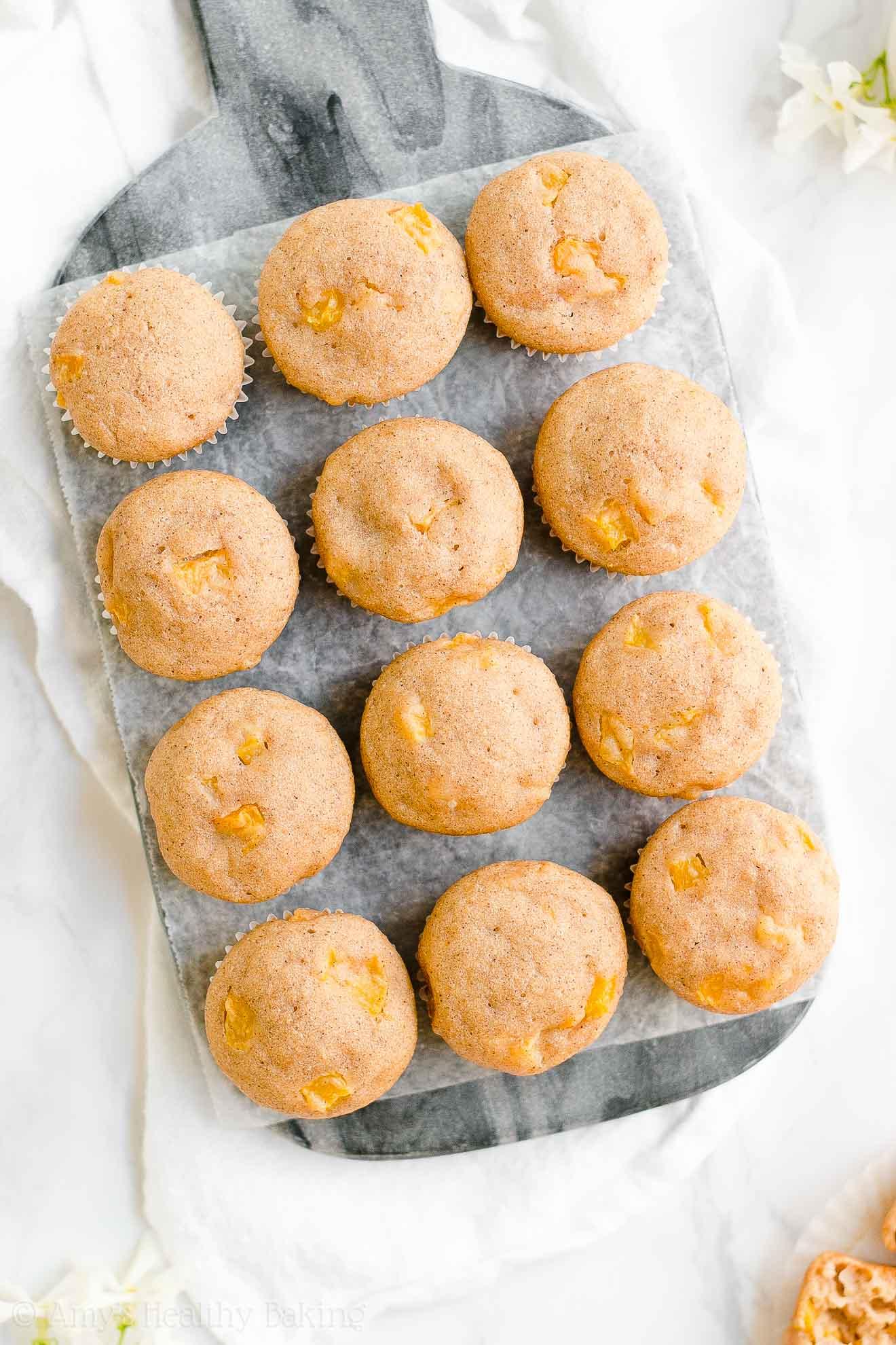 Best Healthy Whole Wheat Peach Mini Muffins