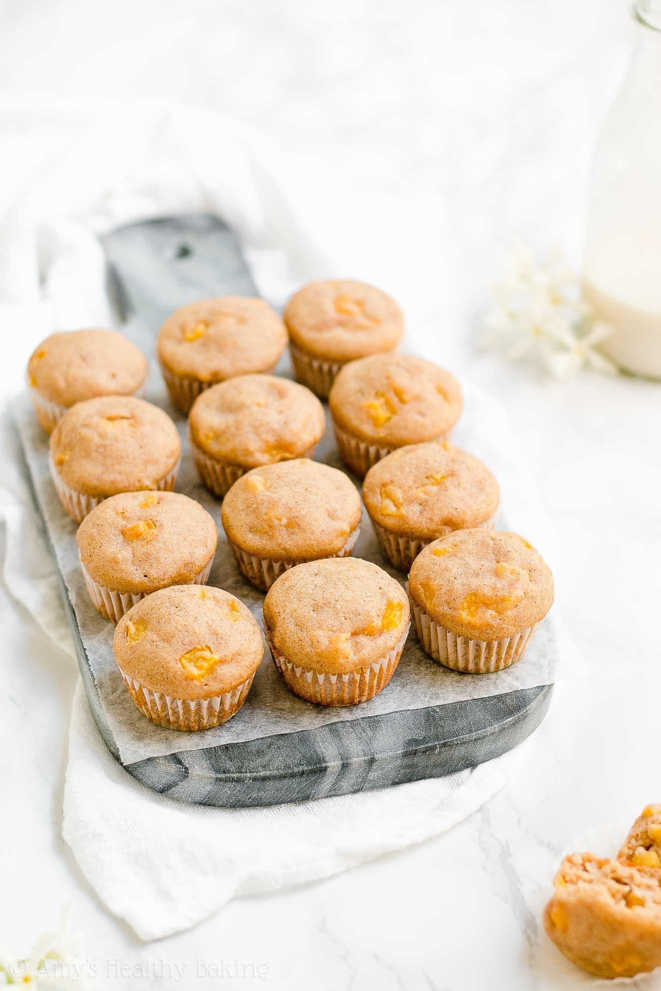 Moist Healthy Low Calorie Peach Yogurt Mini Muffins