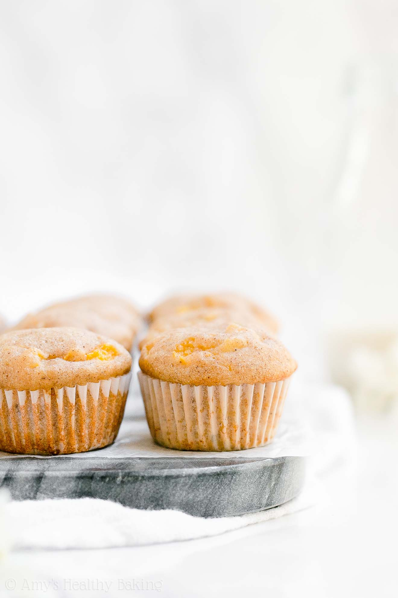 Best Easy Healthy Clean Eating Peach Mini Muffins from scratch