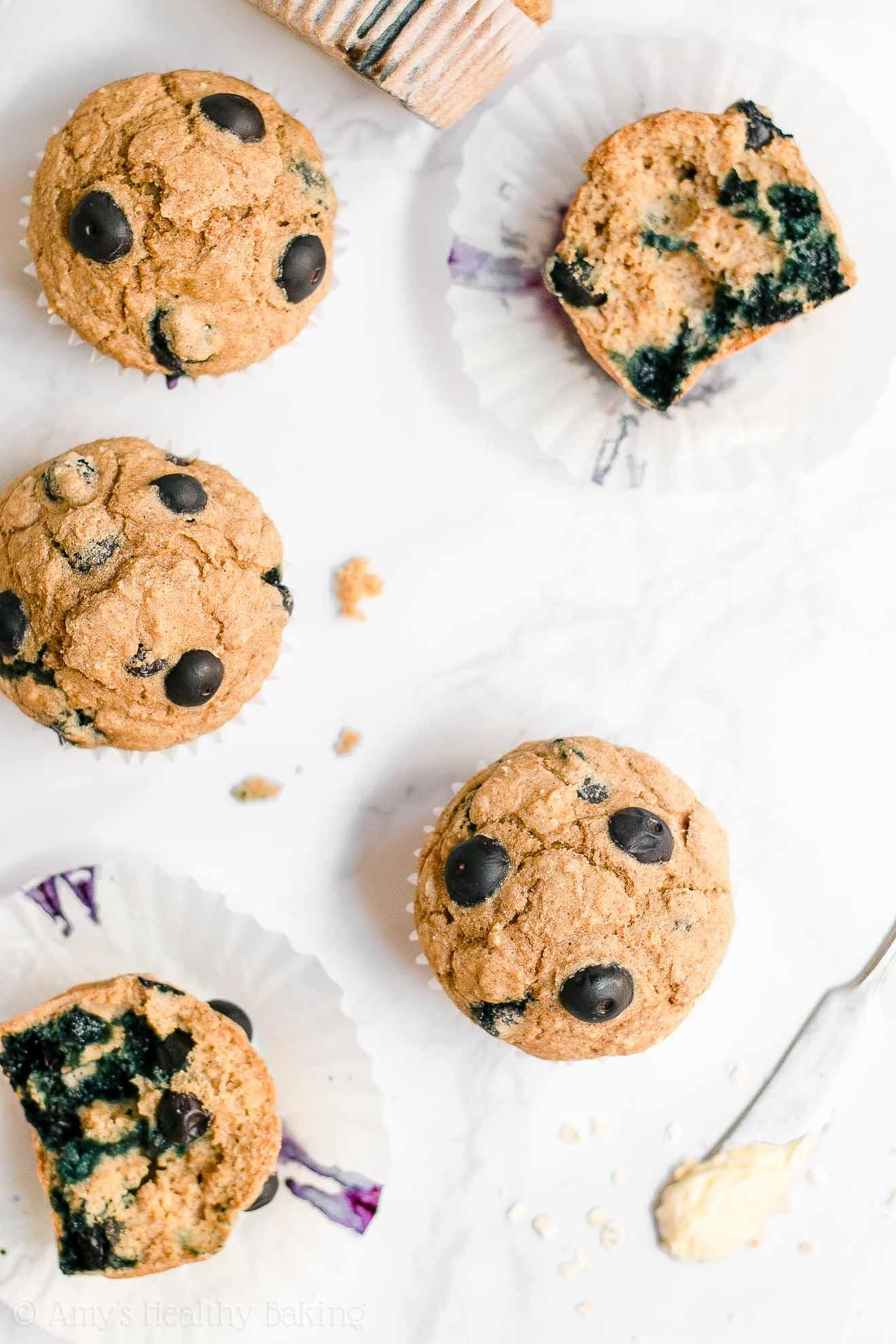ULTIMATE Healthy Moist Greek Yogurt Blueberry Oatmeal Muffins