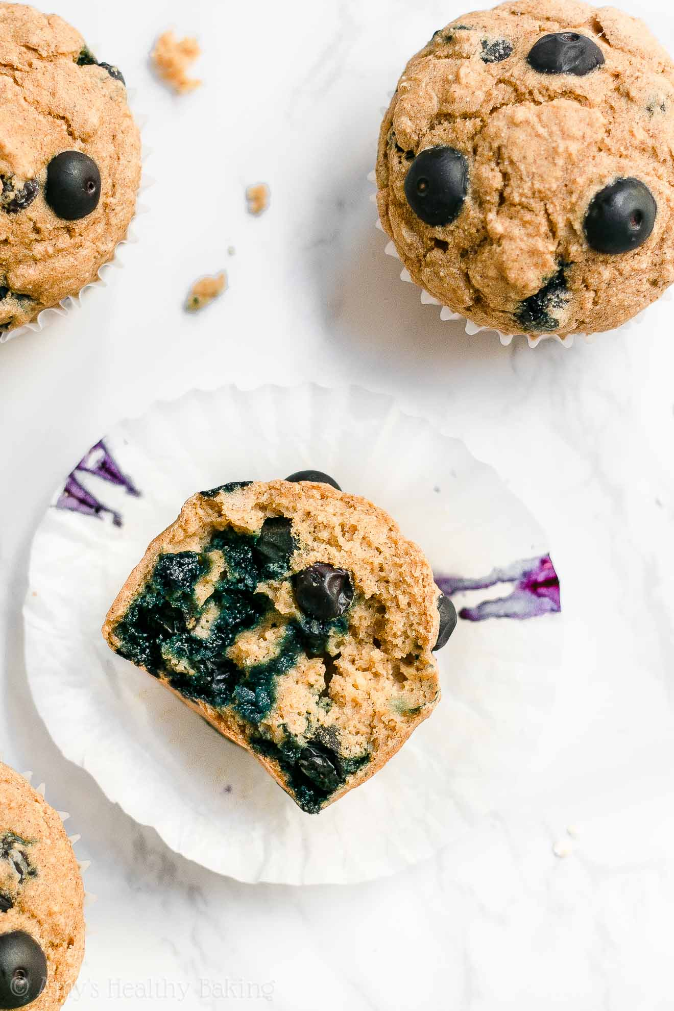ULTIMATE Healthy Whole Wheat No Sugar Blueberry Oatmeal Muffins