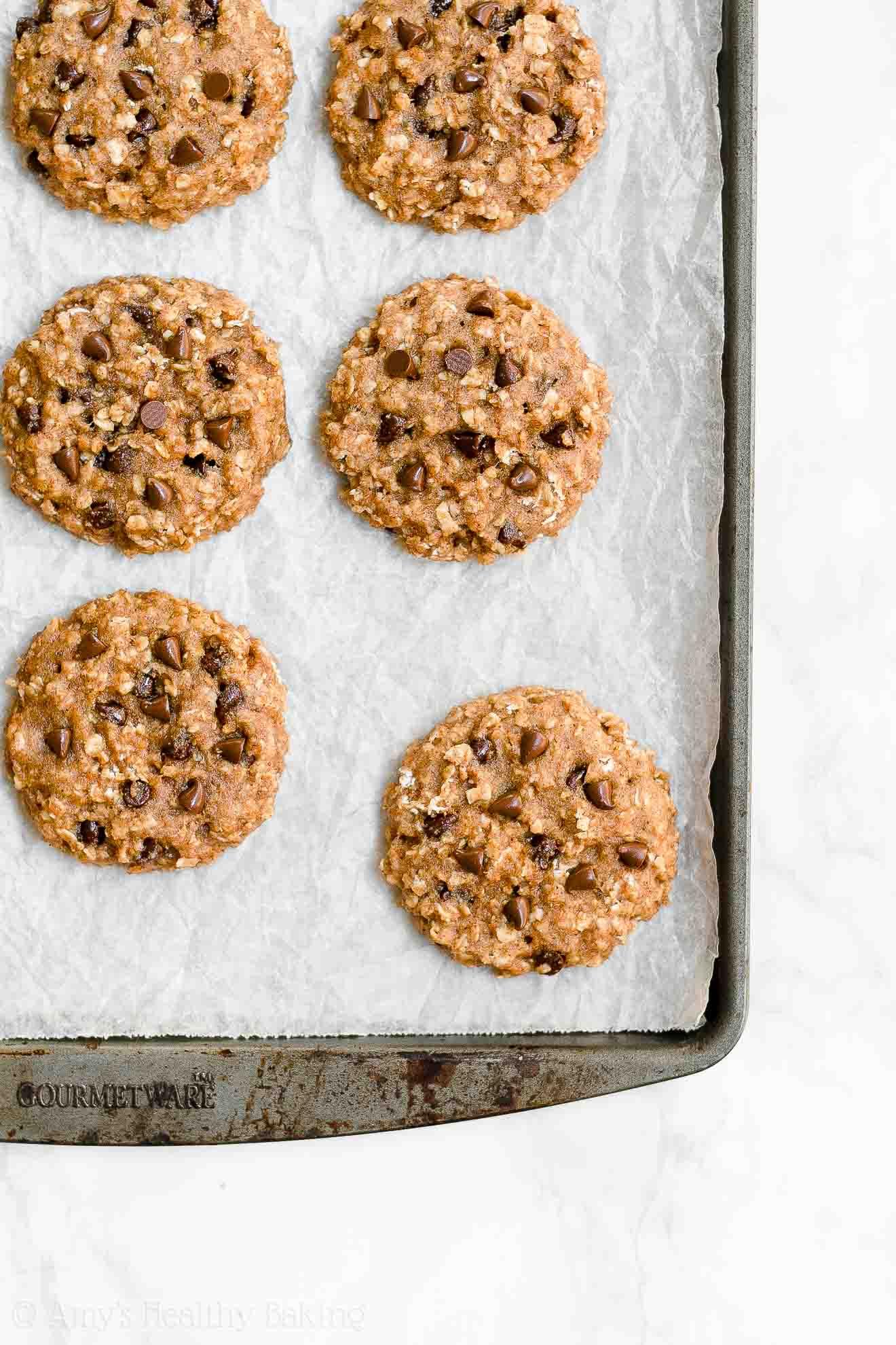 Easy Healthy Gluten Free Chocolate Chip Almond Butter Oatmeal Breakfast Cookies