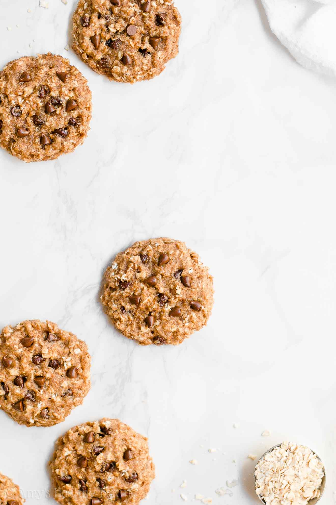 Easy Healthy Chocolate Chip Almond Butter Oatmeal Breakfast Cookies