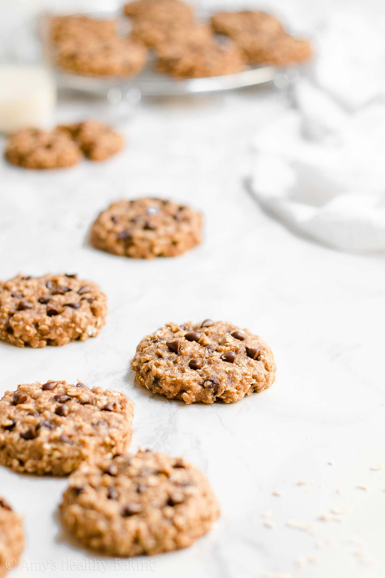 Healthy Chocolate Chip Almond Butter Oatmeal Breakfast Cookies with Weight Watchers Points