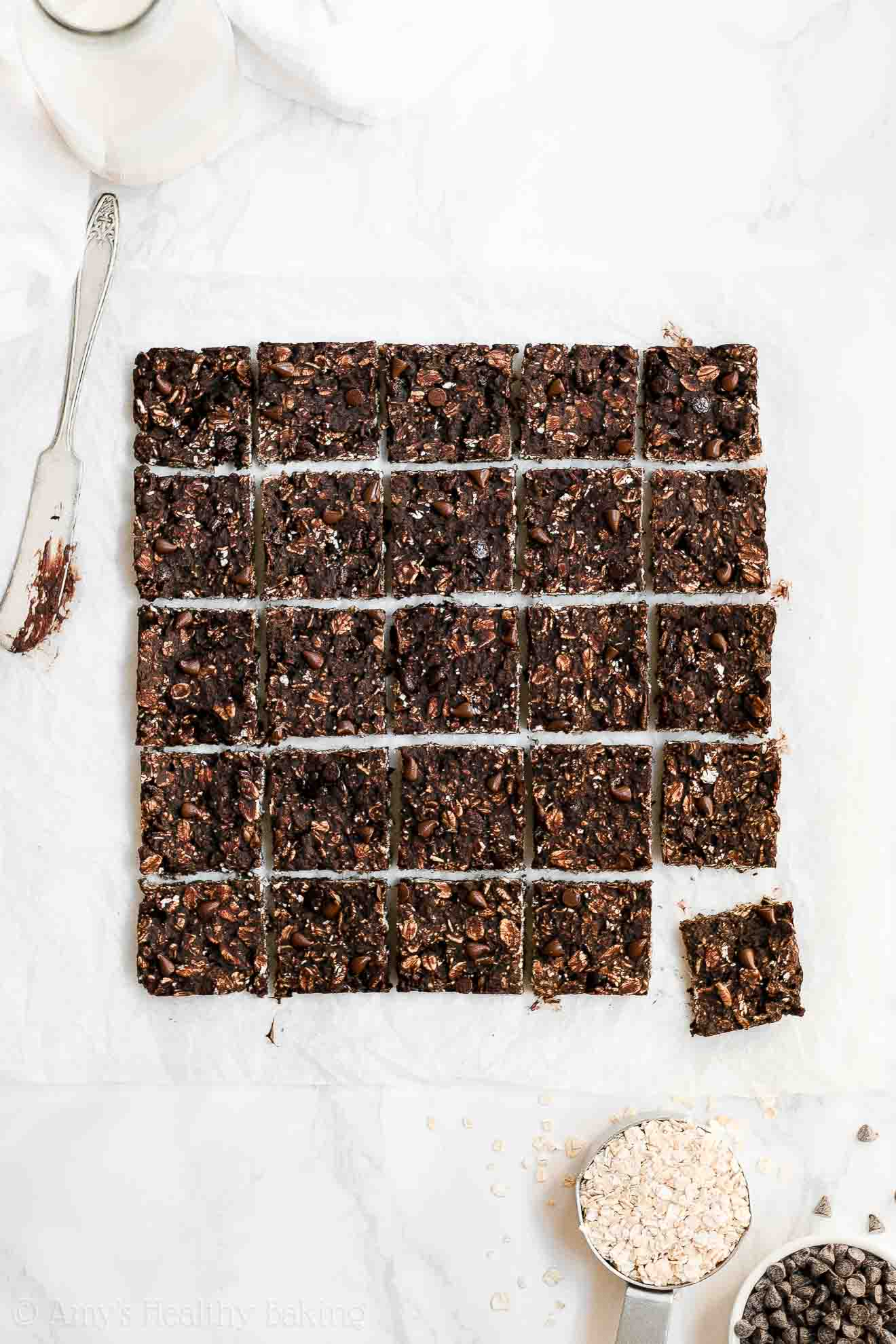 Healthy Double Chocolate Granola Bar Bites with Weight Watchers Points