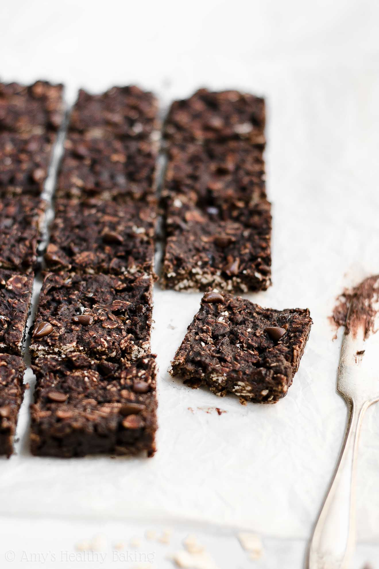 Healthy Low Fat Chewy Dark Chocolate Granola Bar Bites
