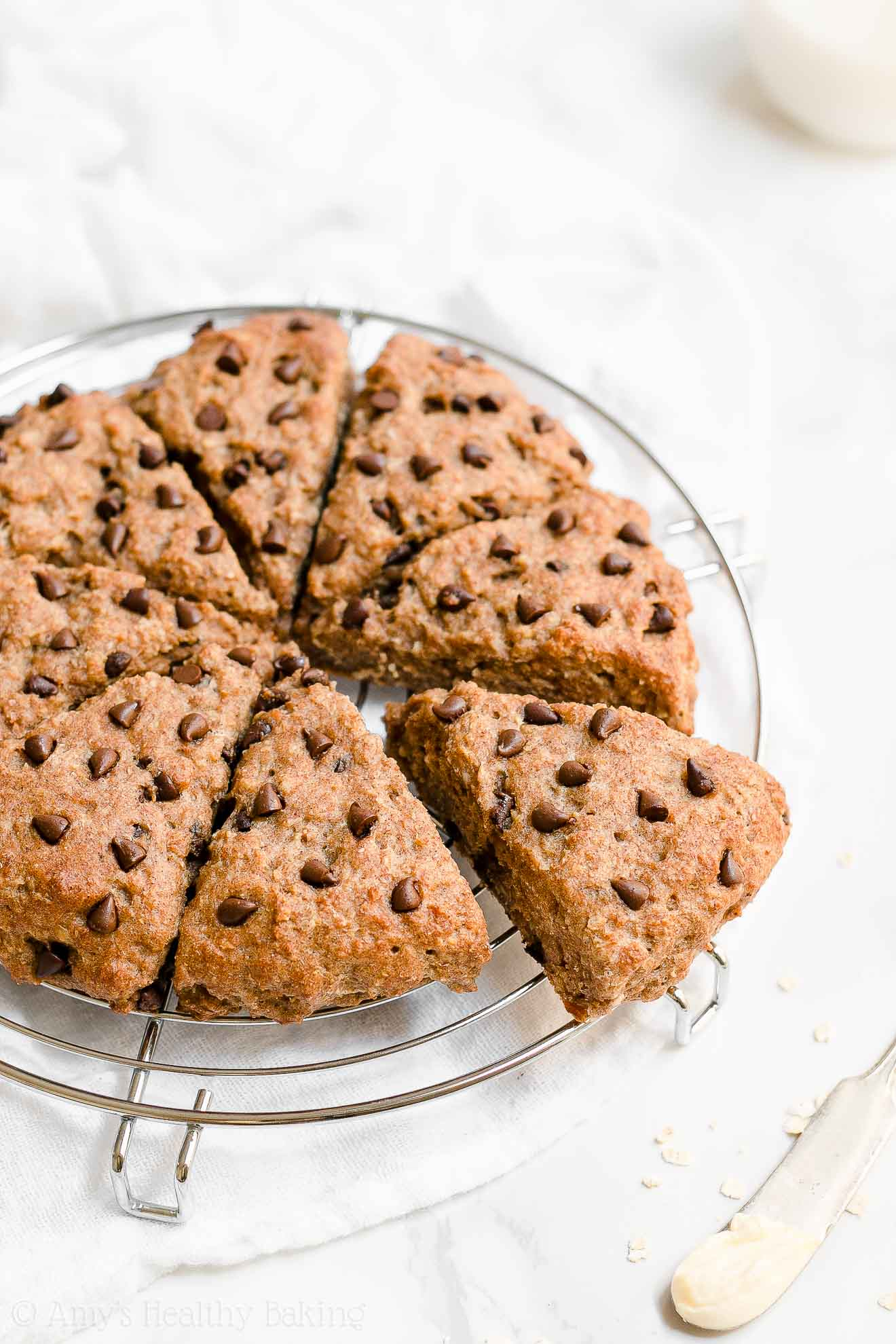 Healthy Maple Oatmeal Chocolate Chip Scones with Vegan Options