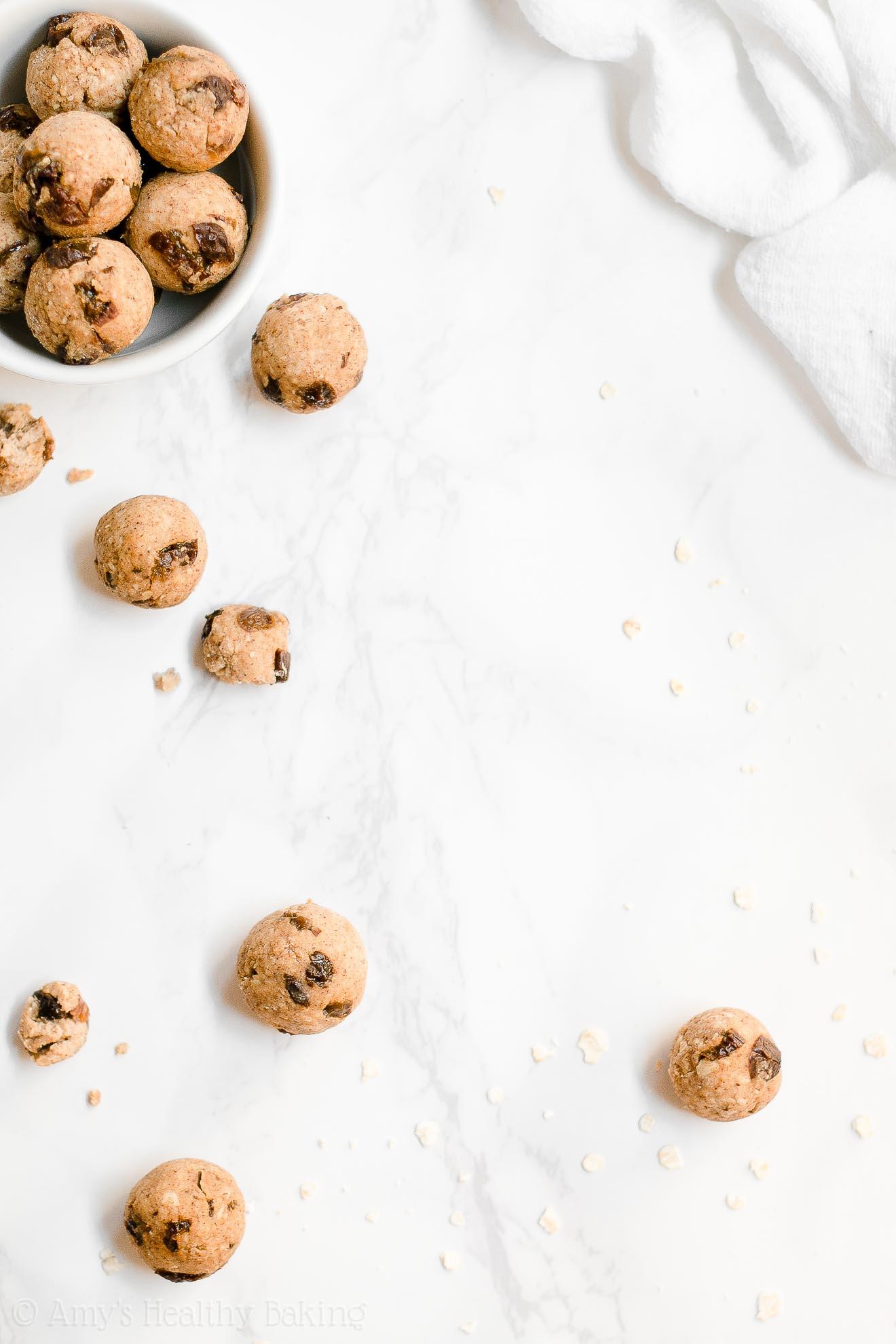 Clean Eating Eggless Flourless Sugar Free Oatmeal Raisin Cookie Dough Bites
