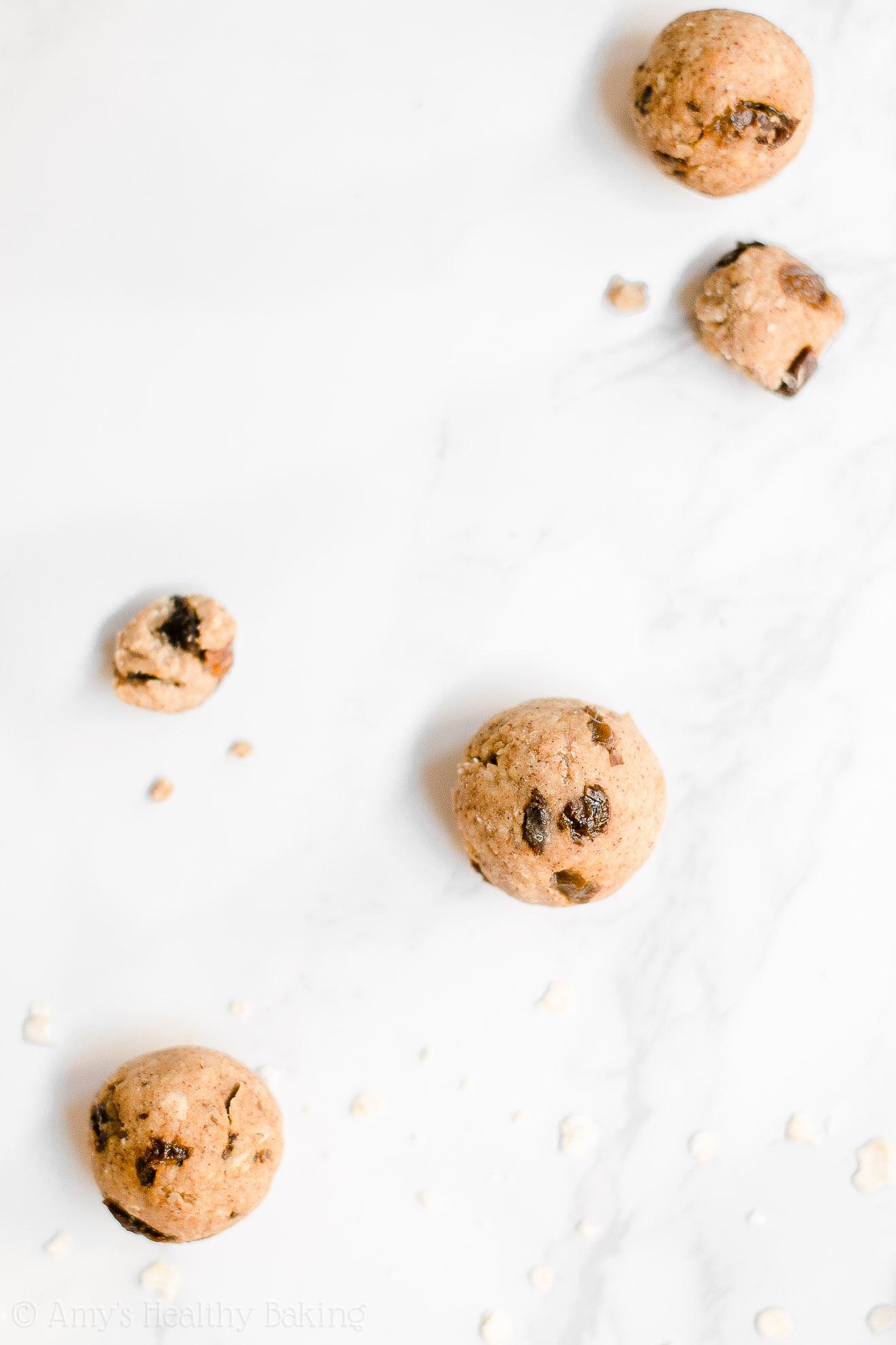 Healthy Edible Low Fat Flourless Oatmeal Raisin Cookie Dough Bites