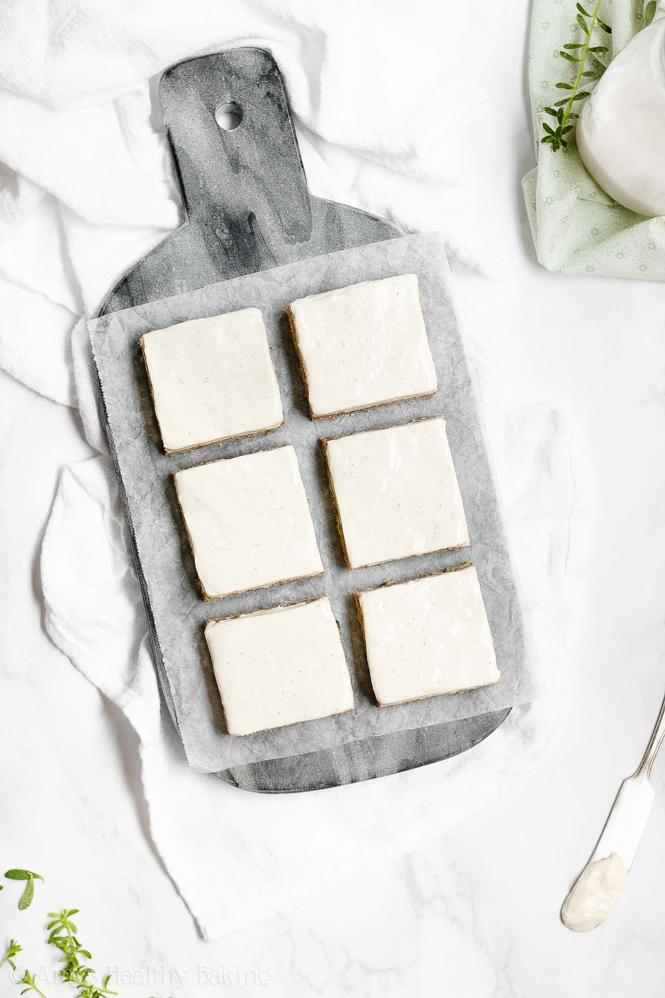 Healthy Zucchini Cookie Bars with Greek Yogurt Cream Cheese Frosting