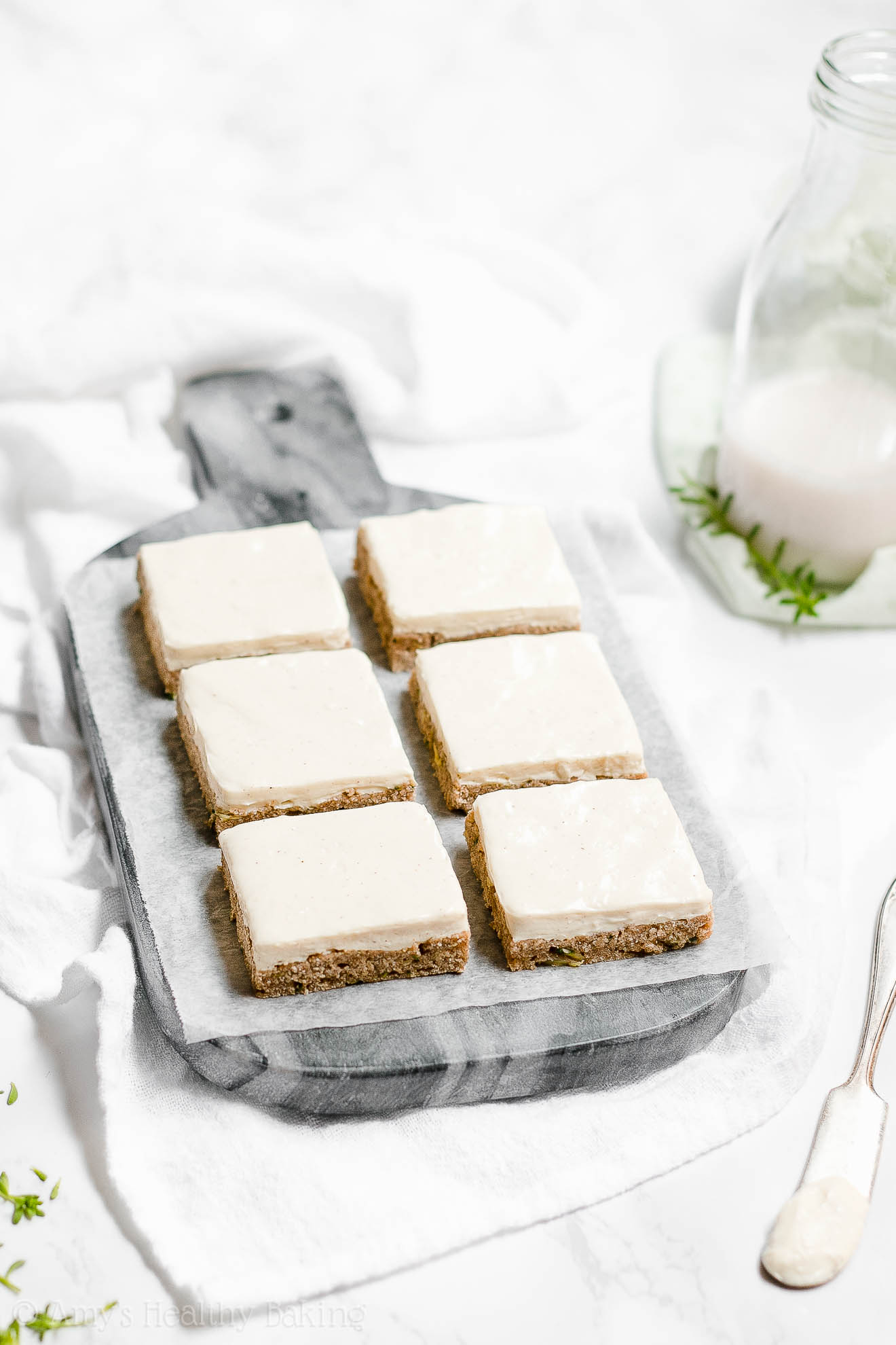 Healthy Gluten Free Zucchini Cookie Bars with Cream Cheese Frosting