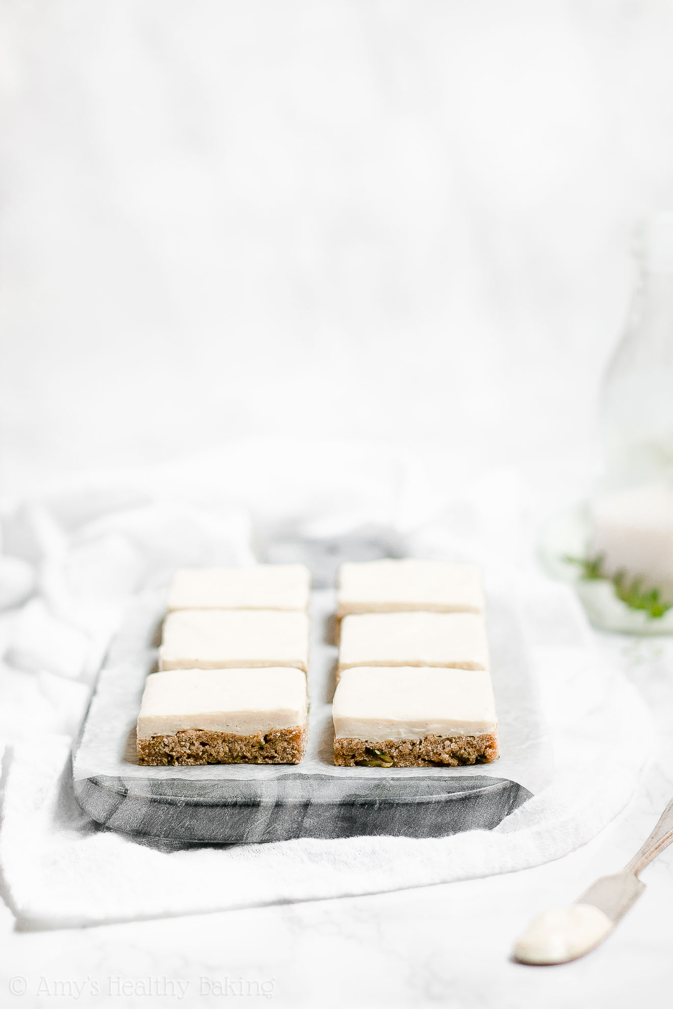 Healthy Low Fat Zucchini Cookie Bars with Cream Cheese Frosting