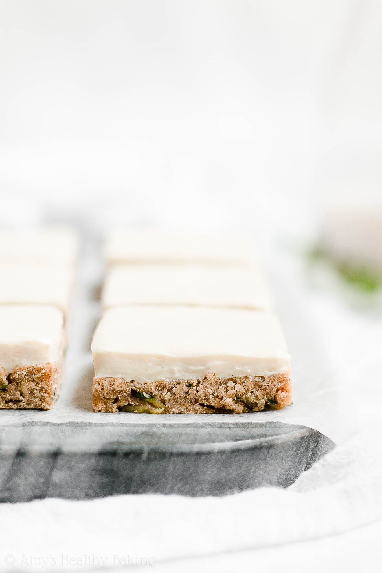 Healthy Whole Wheat Zucchini Cookie Bars with Cream Cheese Frosting
