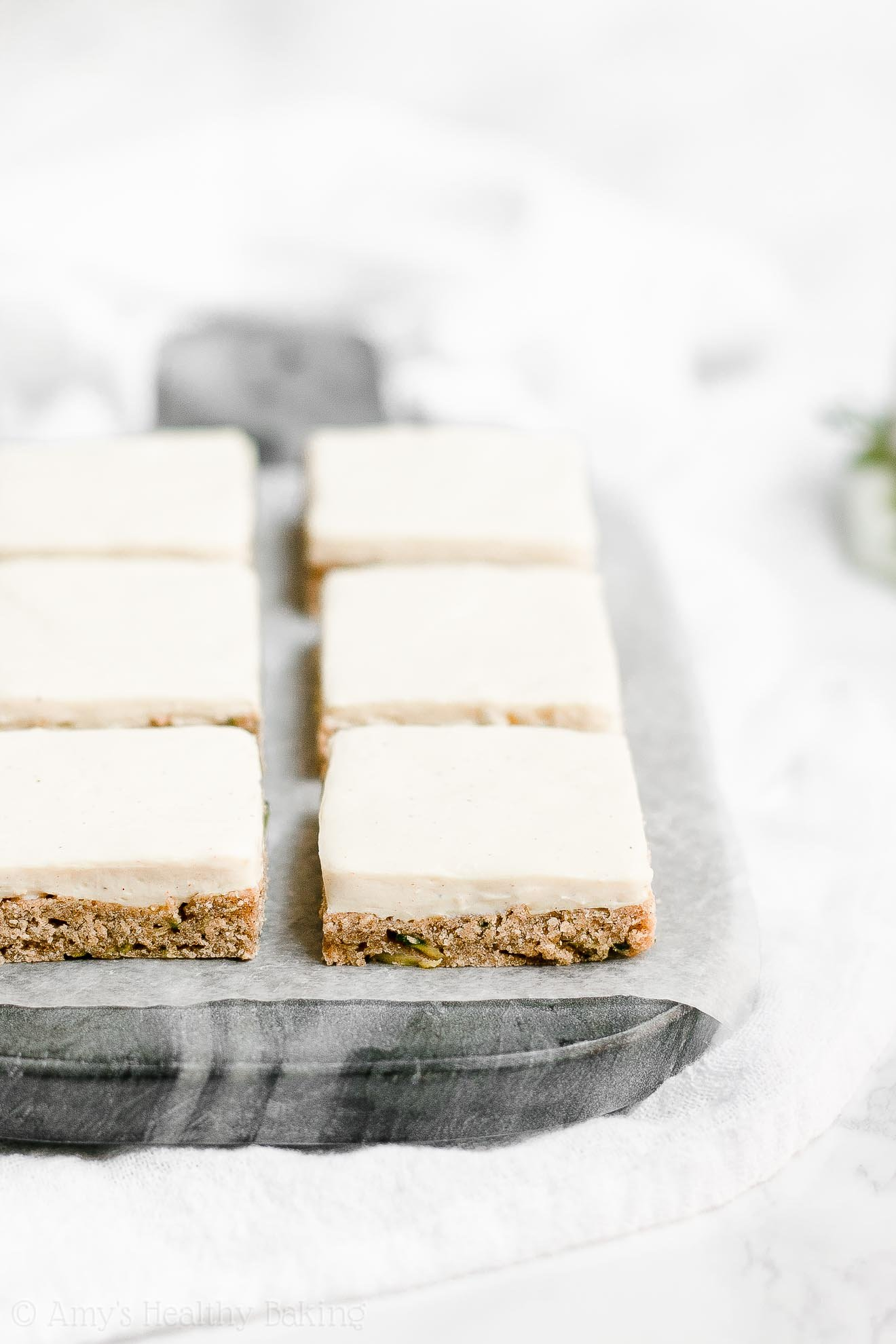 Healthy Low Sugar Zucchini Cookie Bars with Cream Cheese Frosting