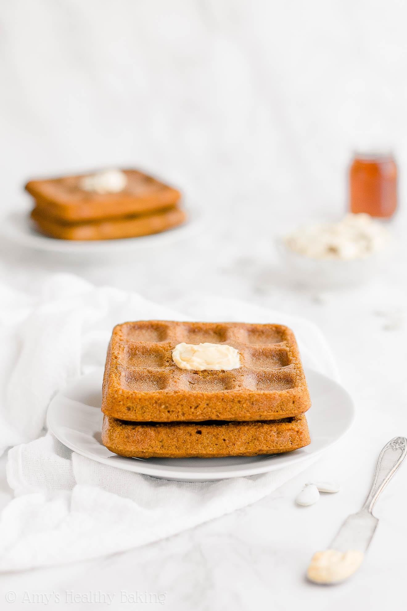 Best Healthy Clean Eating Low Sugar Fluffy Pumpkin Waffles