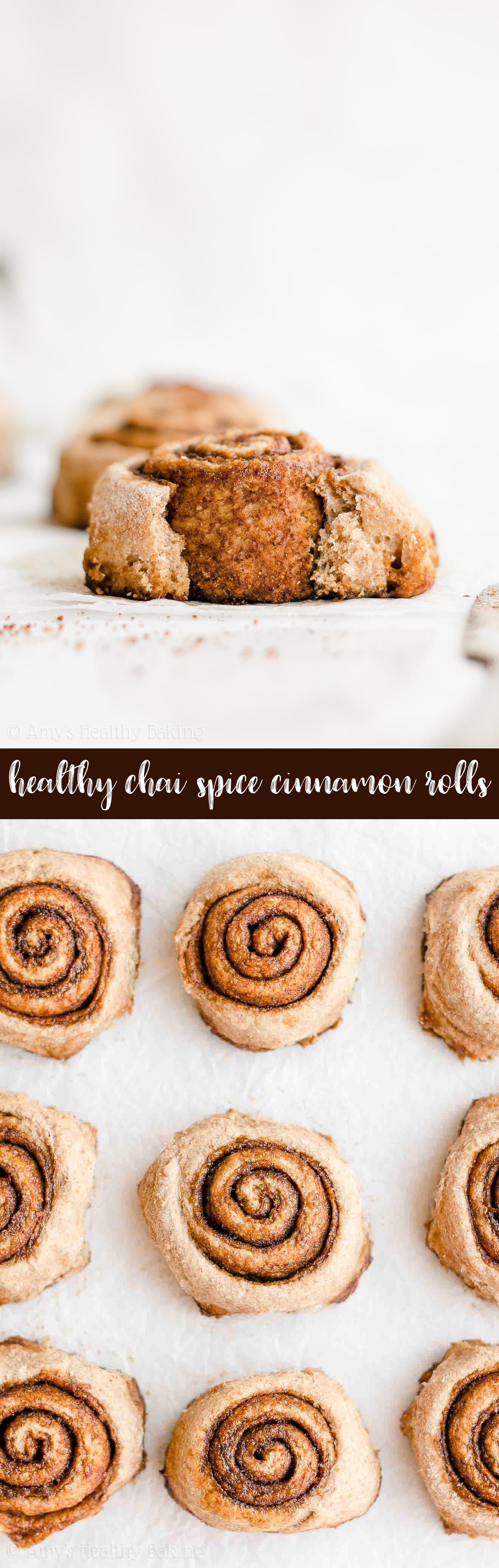 Best Ever Healthy Clean Eating Whole Wheat Chai Spice Cinnamon Rolls